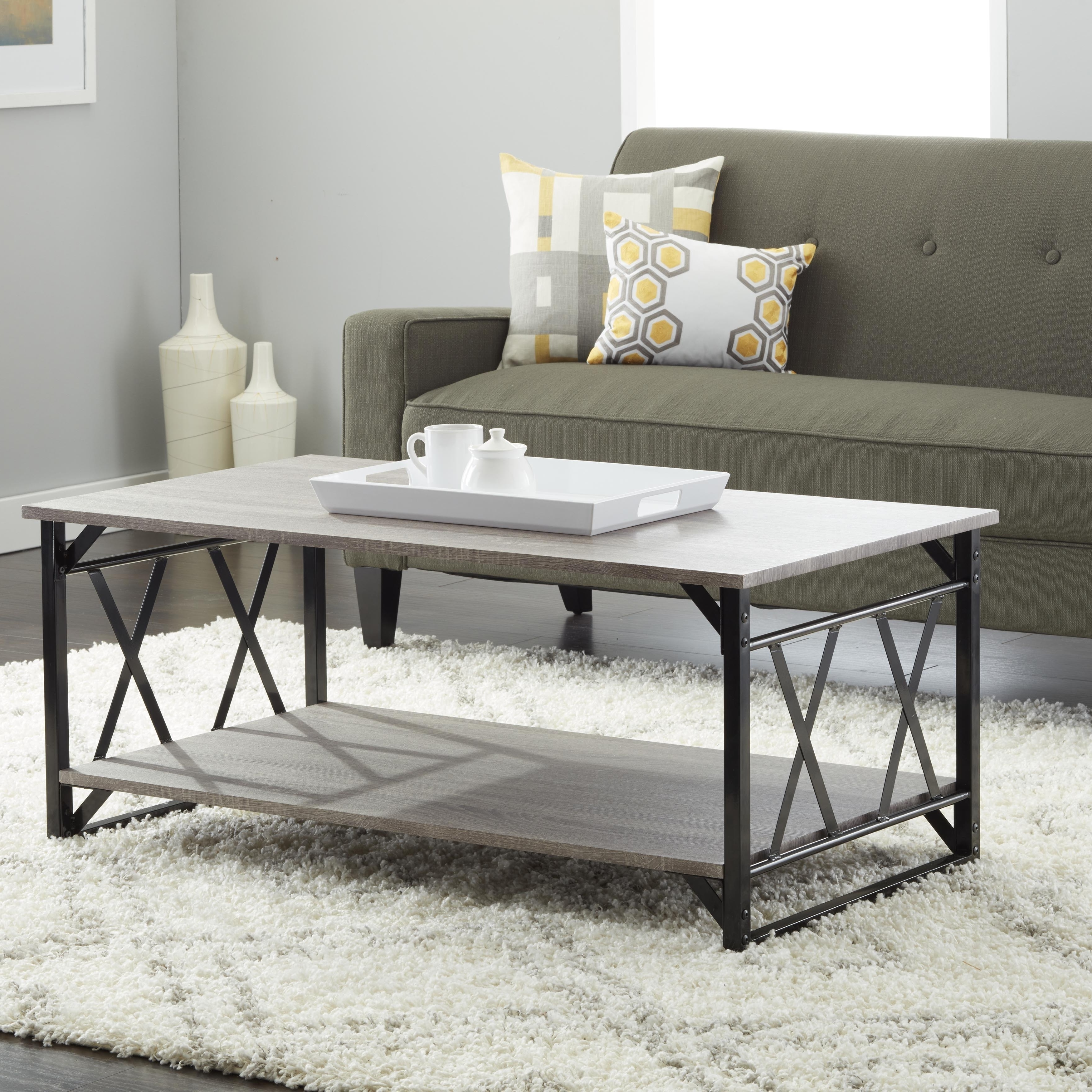 Shop Reclaimed Style Grey Coffee Table With Double 'x' Frame – On In Most Popular Seneca Lift Top Cocktail Tables (View 16 of 20)