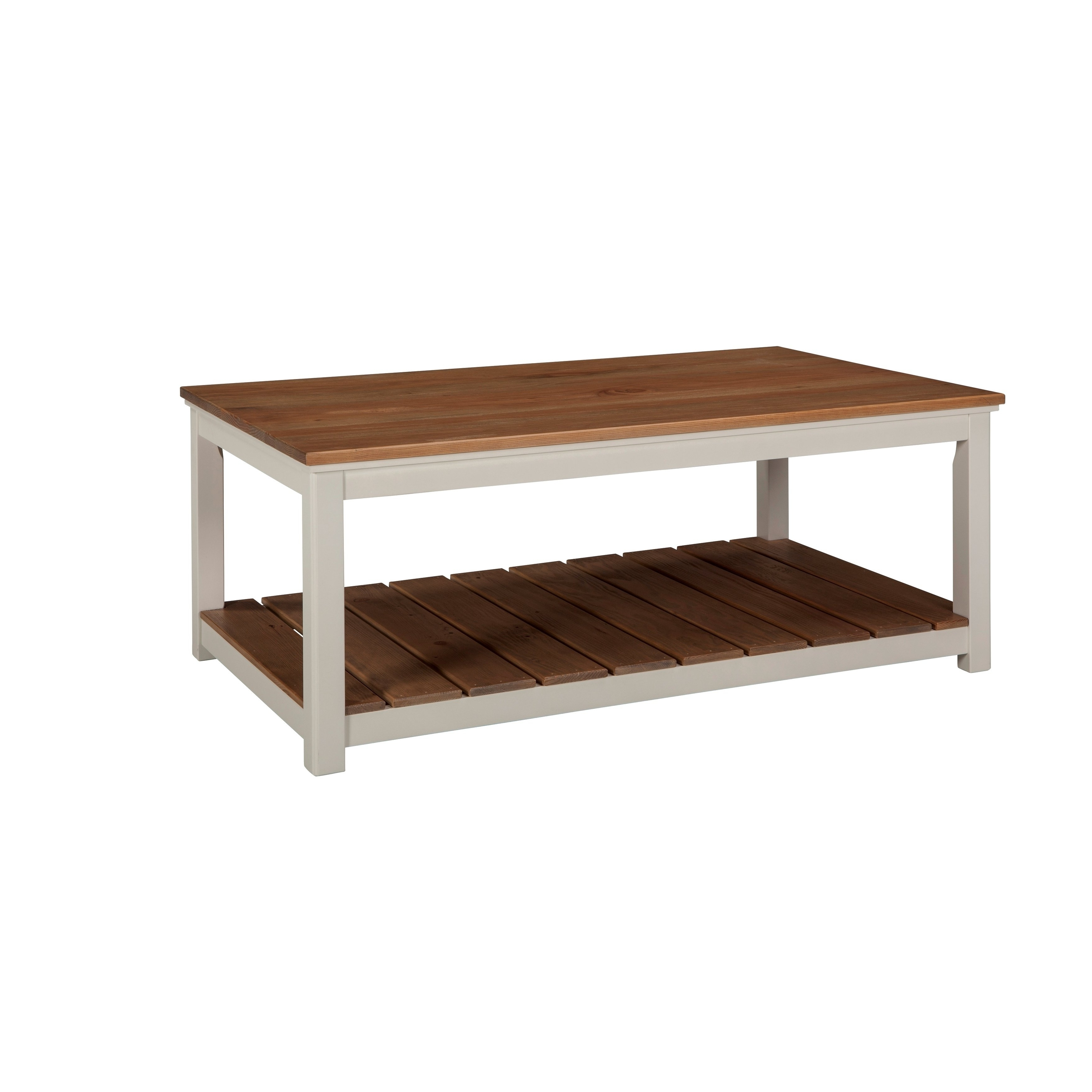 "Shop Savannah 45""w Coffee Table, Ivory With Natural Wood Top – Free Pertaining To Best And Newest Element Ivory Rectangular Coffee Tables (View 7 of 20)"