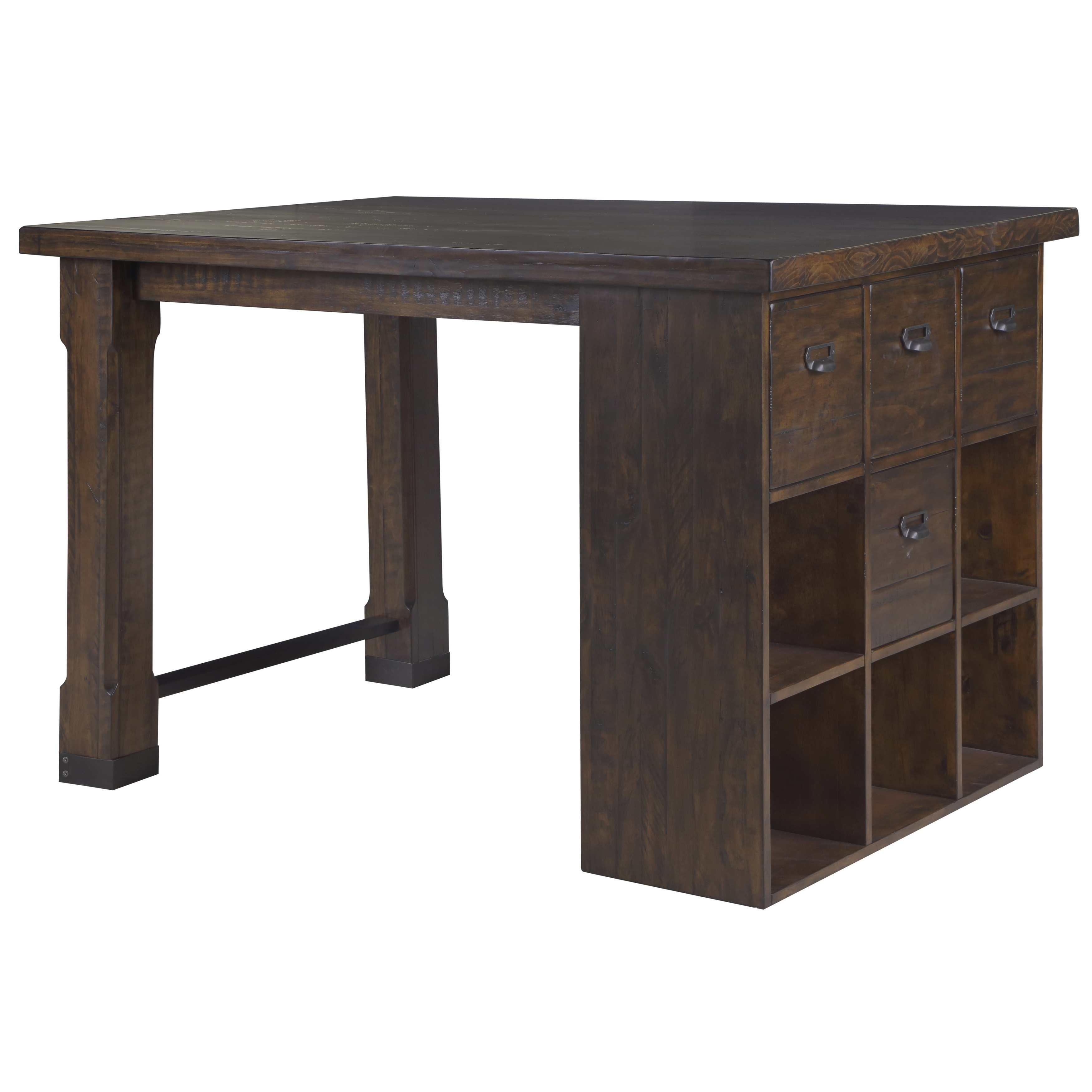 Shop Silver Orchid Bowers Asymmetrical Counter Height Desk With Cube Intended For Widely Used Aged Iron Cube Tables (View 15 of 20)