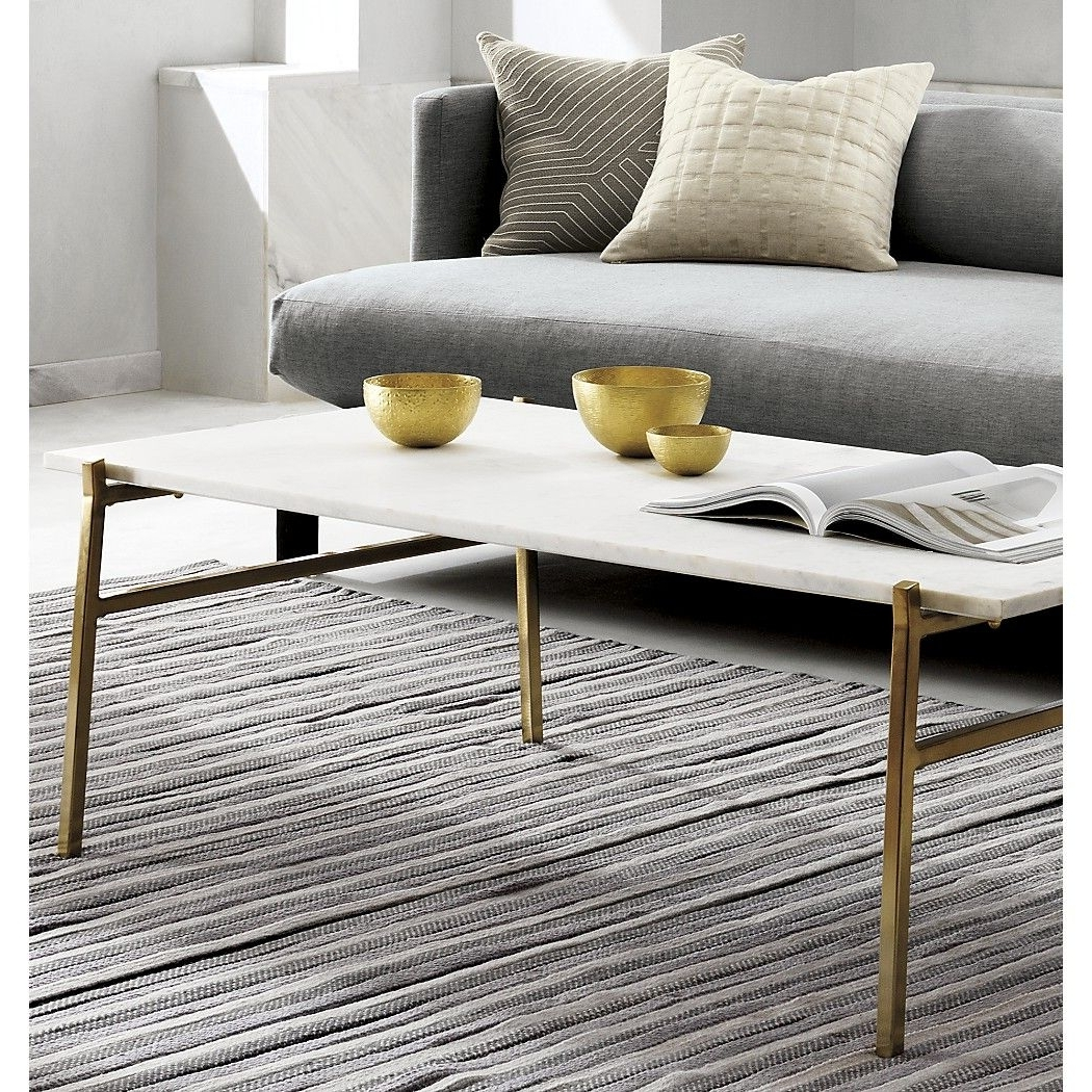 Featured Photo of Slab Large Marble Coffee Tables With Brass Base
