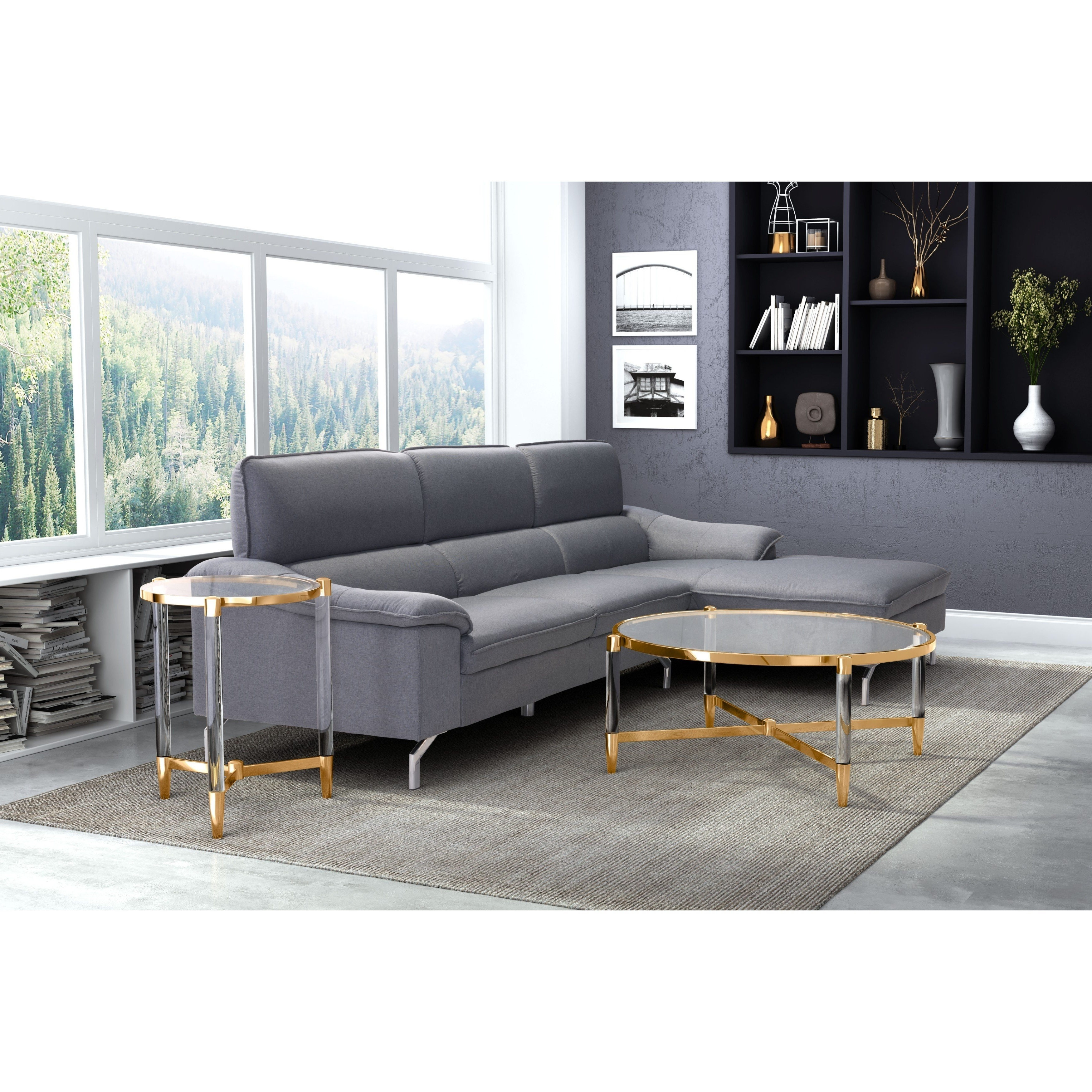 Shop Zuo Existential Goldtone Finish Glass Coffee Table – Free In Latest Candice Ii Storage Cocktail Tables (View 16 of 20)