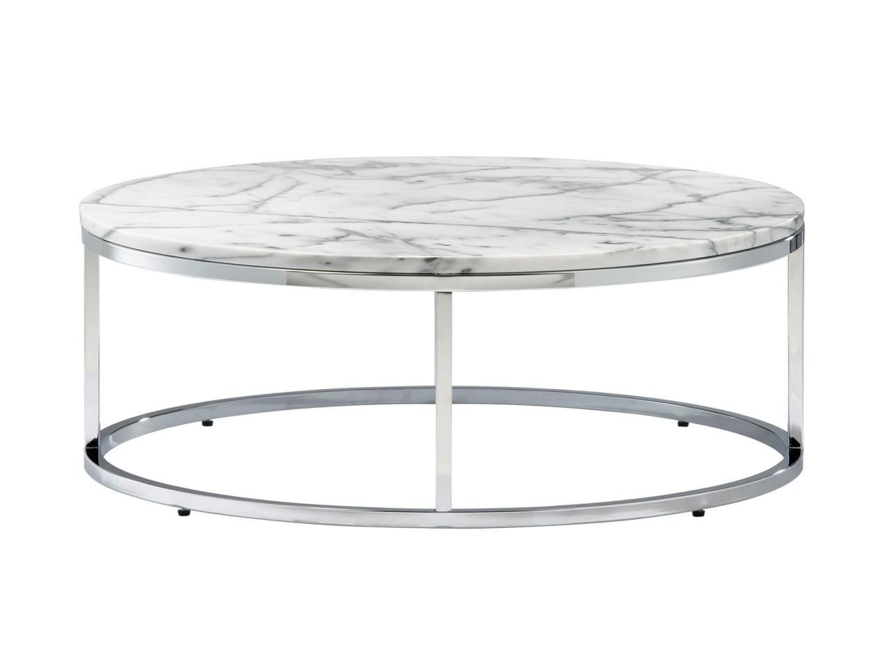 "Smart Round 12 1/4""h X 33"" Diameter Marble And Steel Coffee Table Intended For Most Current Smart Round Marble Top Coffee Tables (View 18 of 20)"