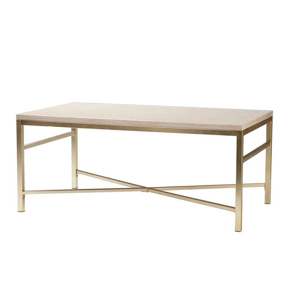Southern Enterprises Nellie Faux Travertine And Matte Brass Coffee With Best And Newest Rectangular Coffee Tables With Brass Legs (View 11 of 20)