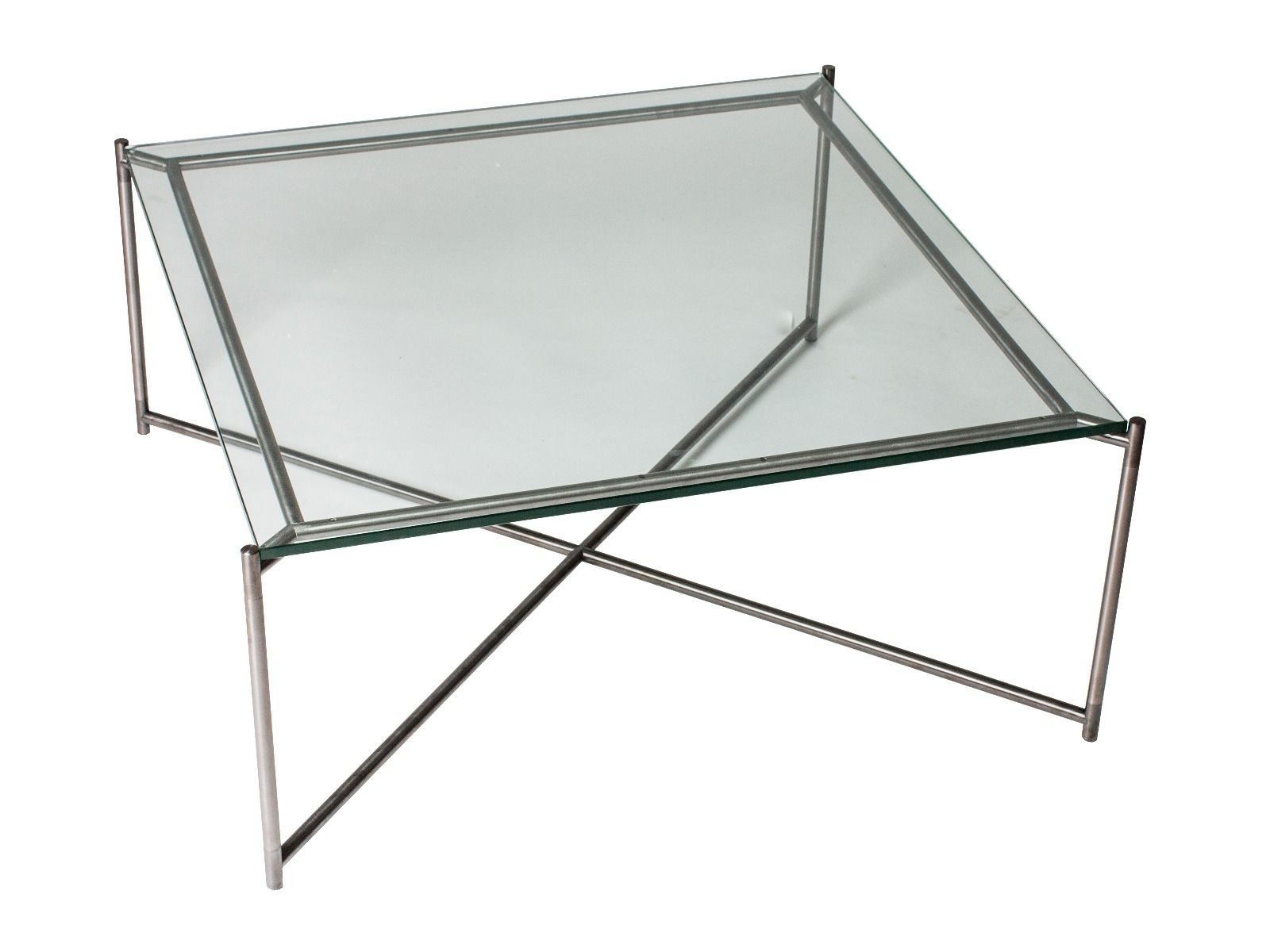 Square Coffee Table Clear Glass With Gun Metal Frame (View 13 of 20)