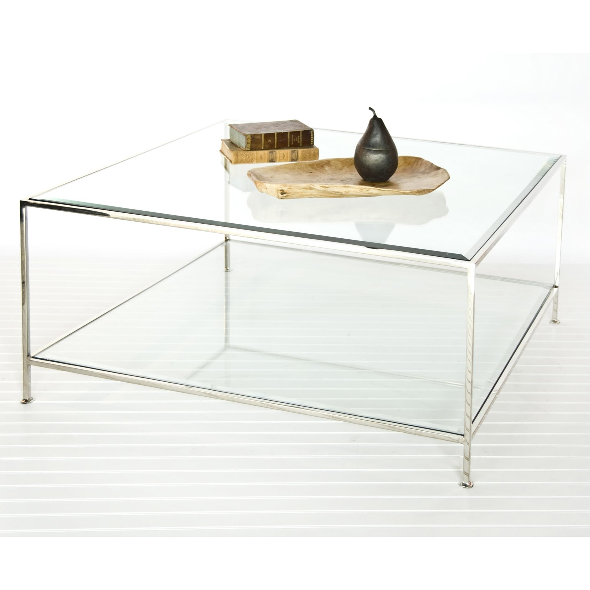 Square Lucite Coffee Table Elegant Fabulous Pertaining To 18 Pertaining To Current Acrylic Glass And Brass Coffee Tables (View 18 of 20)