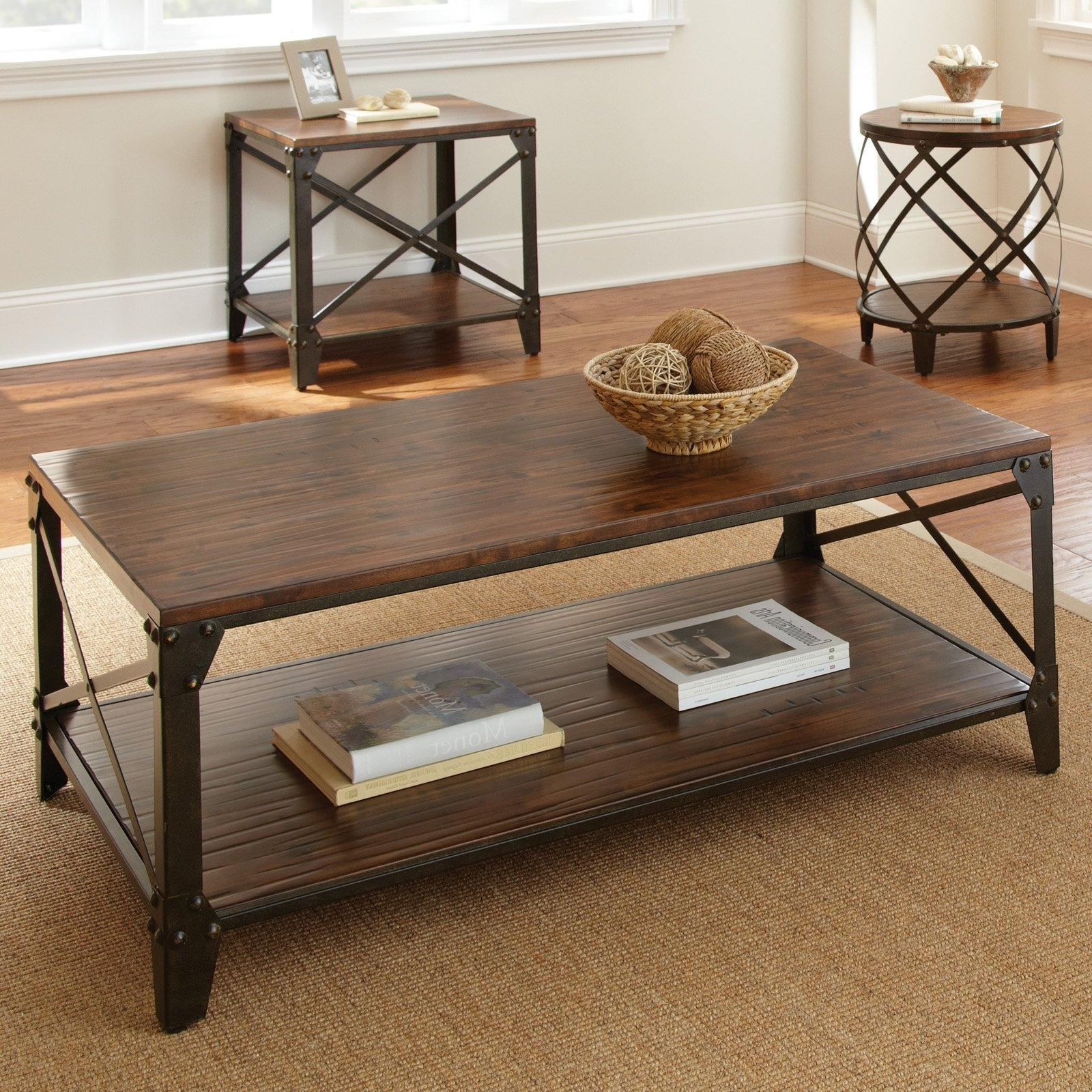 Steve Silver Winston Rectangle Distressed Tobacco Wood And Metal Throughout Famous Iron Wood Coffee Tables With Wheels (View 12 of 20)