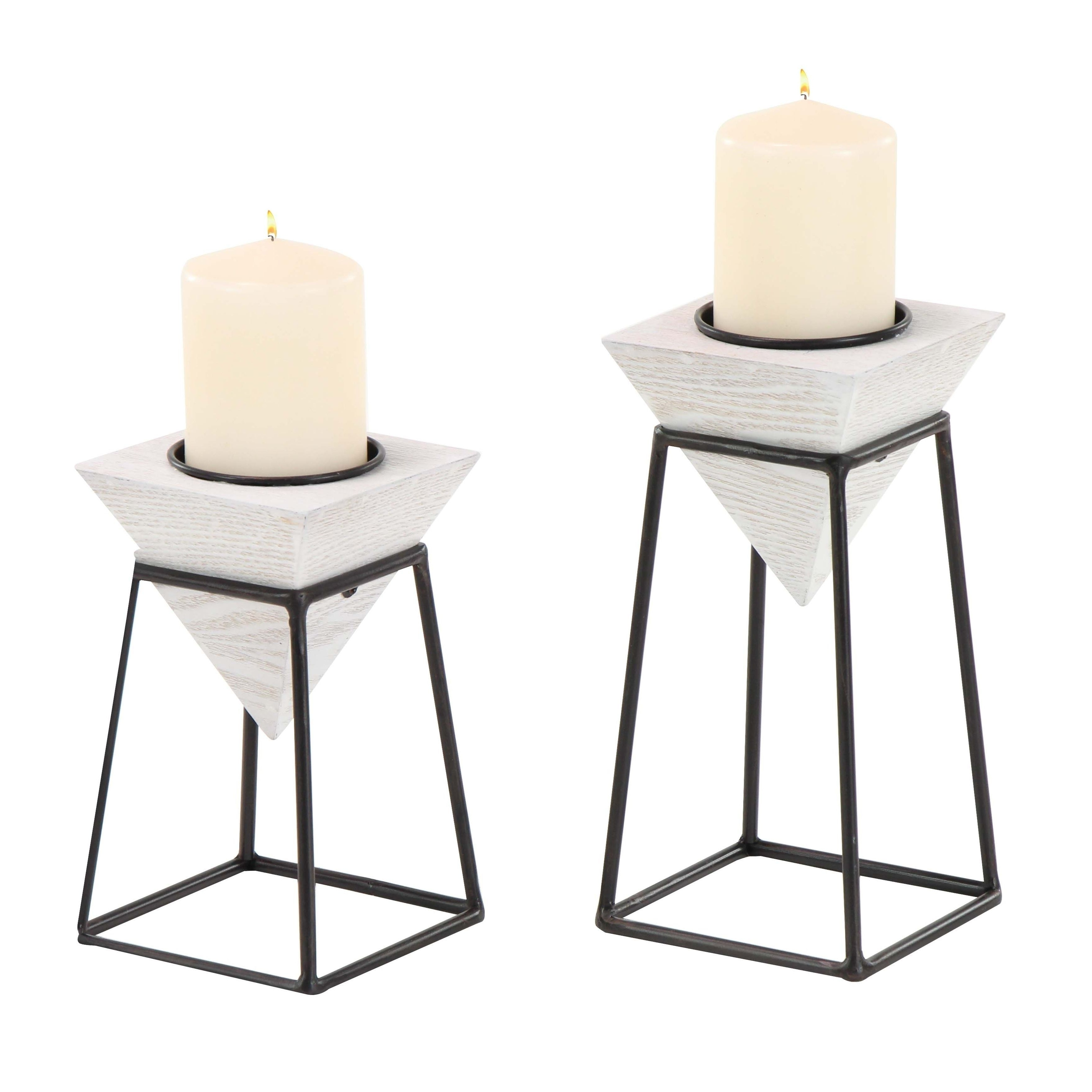 Studio 350 Set Of 2 Modern White Inverted Pyramid Candle Holders Pertaining To Trendy Inverted Triangle Coffee Tables (View 15 of 20)
