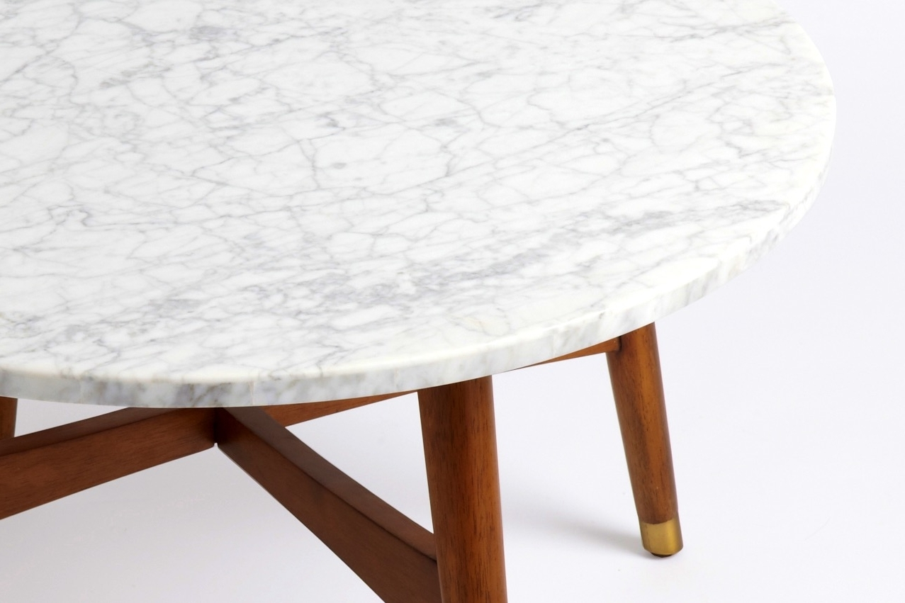 Stylish Round Marble Top Coffee Table With Mid Century Round Marble Regarding Recent Mid Century Modern Marble Coffee Tables (View 11 of 20)