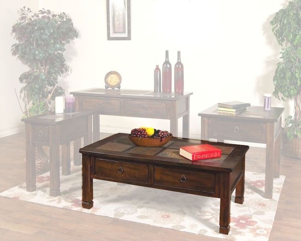 Sunny Designs Santa Fe Coffee Table With Slate Top Su 3143dc Regarding Latest Santa Fe Coffee Tables (View 12 of 20)