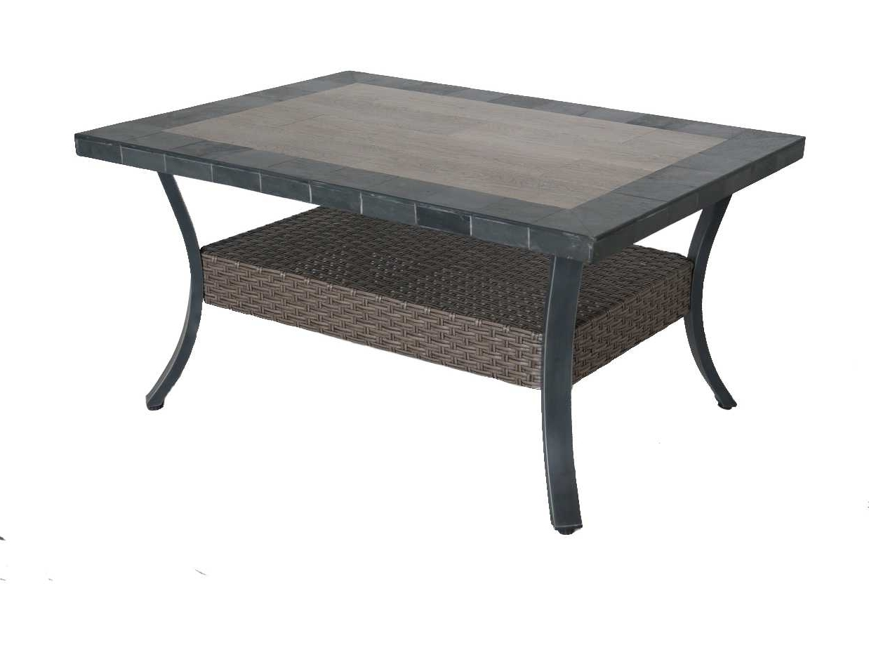 Sunvilla Belize Aluminum Wicker 44 X 32 Rectangular Stone Top Coffee Pertaining To Best And Newest Stone Top Coffee Tables (View 16 of 20)