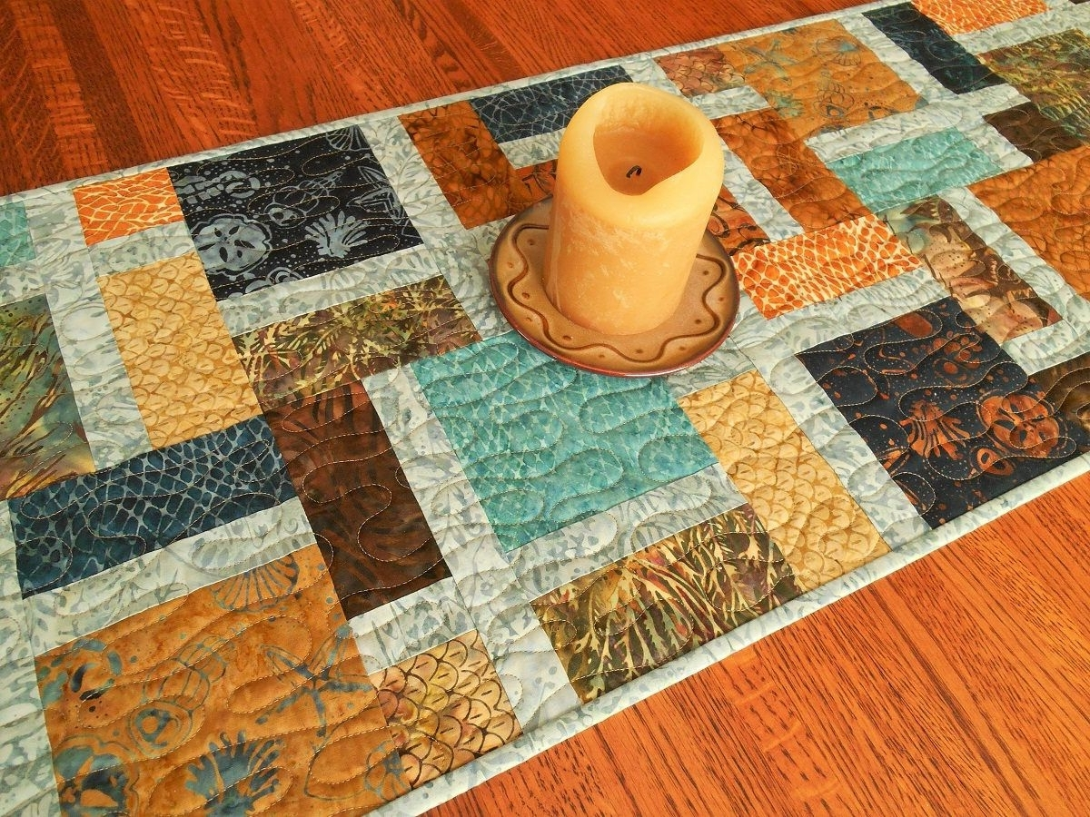 Table Decor, Quilted Batik Table Runner, Blue Brown Rust And Gold Within Well Known Batik Coffee Tables (View 7 of 20)