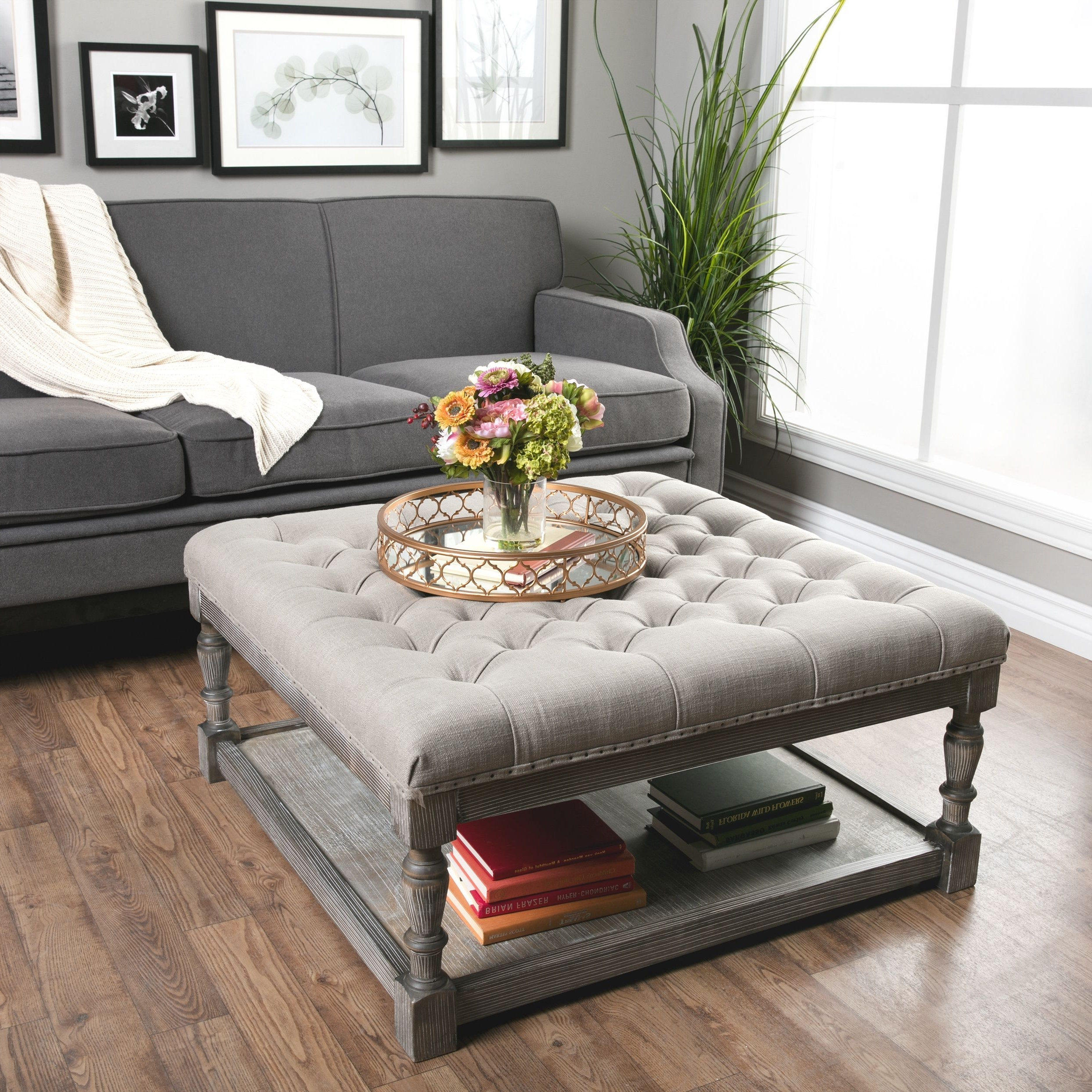 This Beautiful Creston Square Ottoman Features Comfortable, Durable Within Famous Button Tufted Coffee Tables (View 6 of 20)