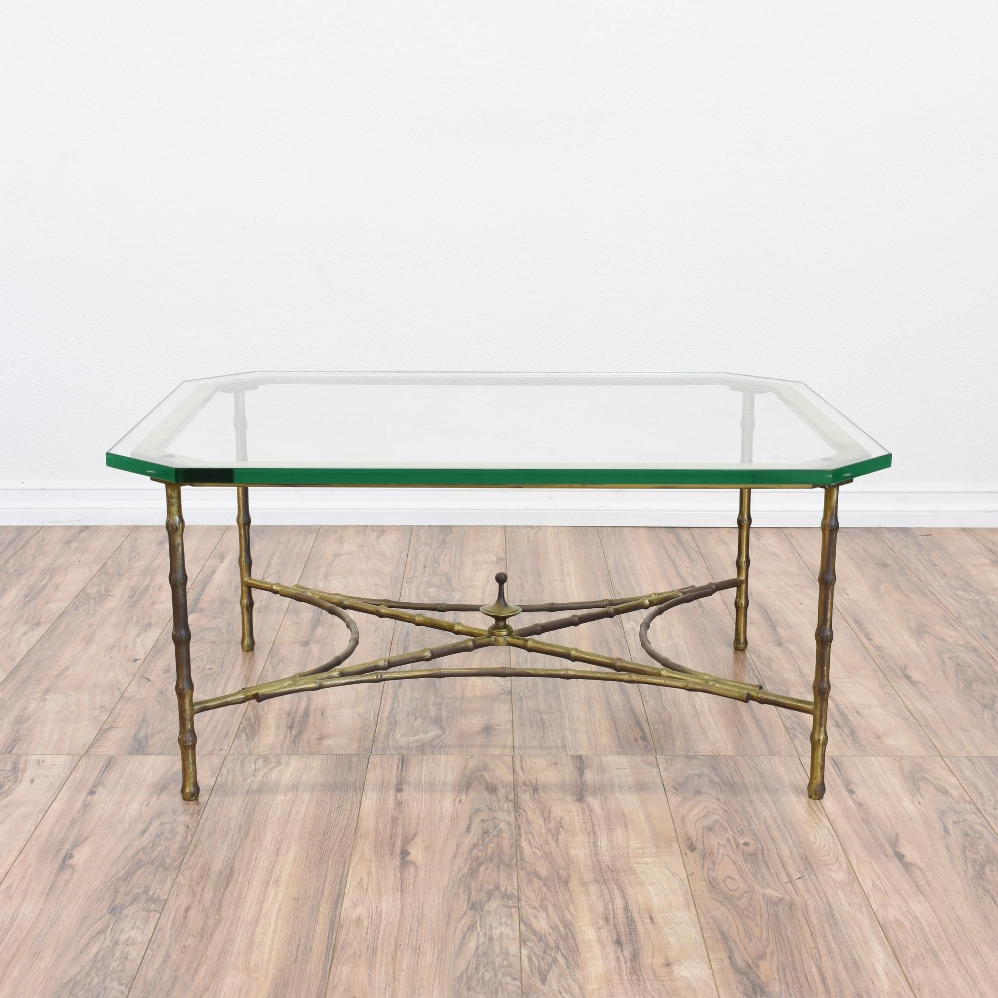 This Regency Coffee Table Is Featured In A Metal With A Shiny Brass Pertaining To Most Current Rectangular Brass Finish And Glass Coffee Tables (View 17 of 20)