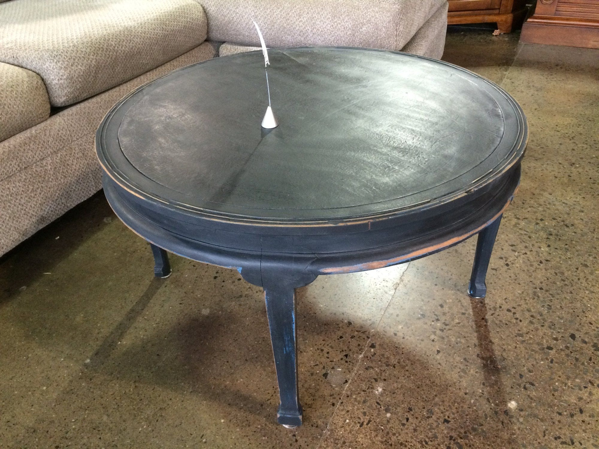 This Smaller Coffee Table Has Been Painted Black, Then Distressed Pertaining To Favorite Waxed Metal Coffee Tables (View 10 of 20)