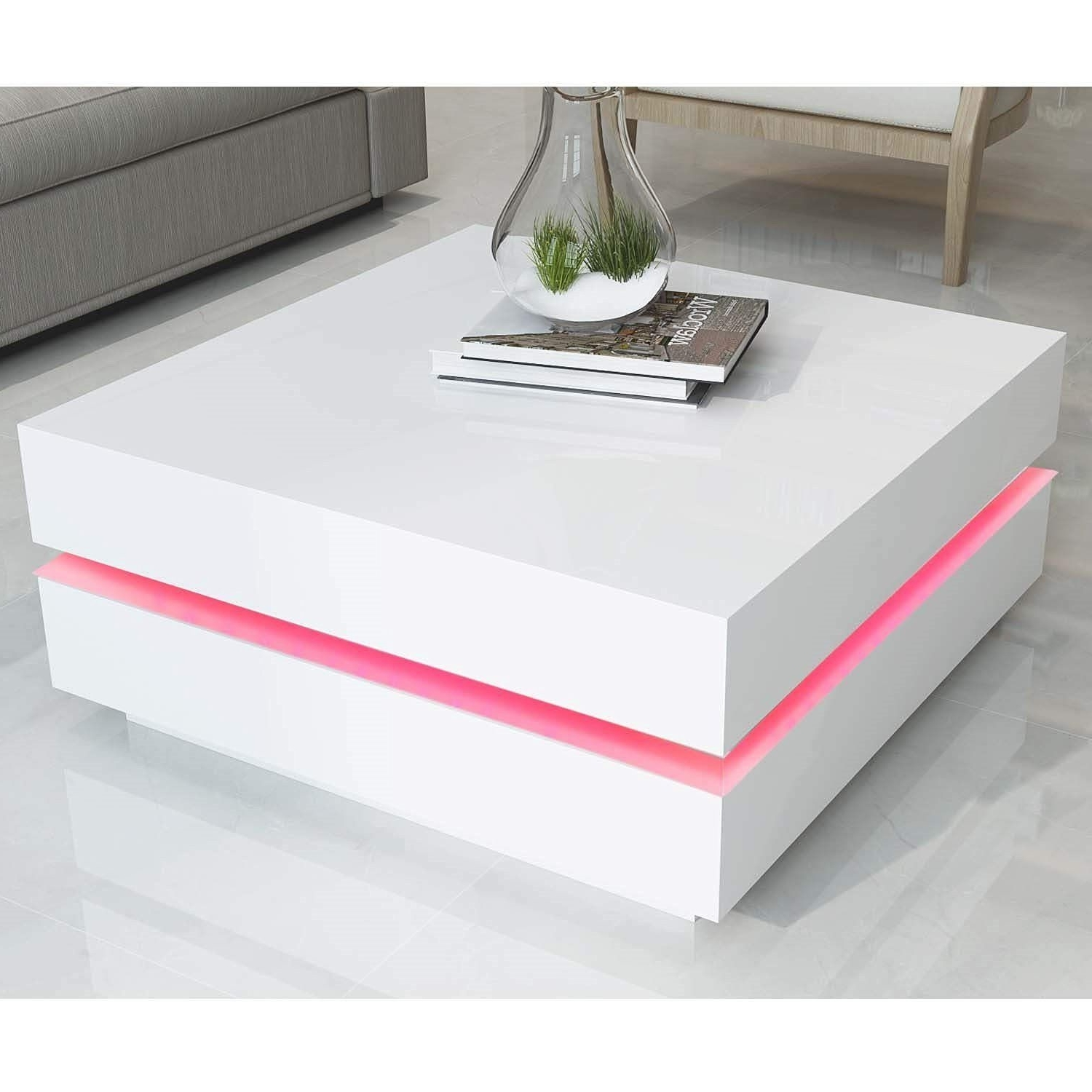 Tiffany White High Gloss Cubic Led Coffee Table (View 15 of 20)