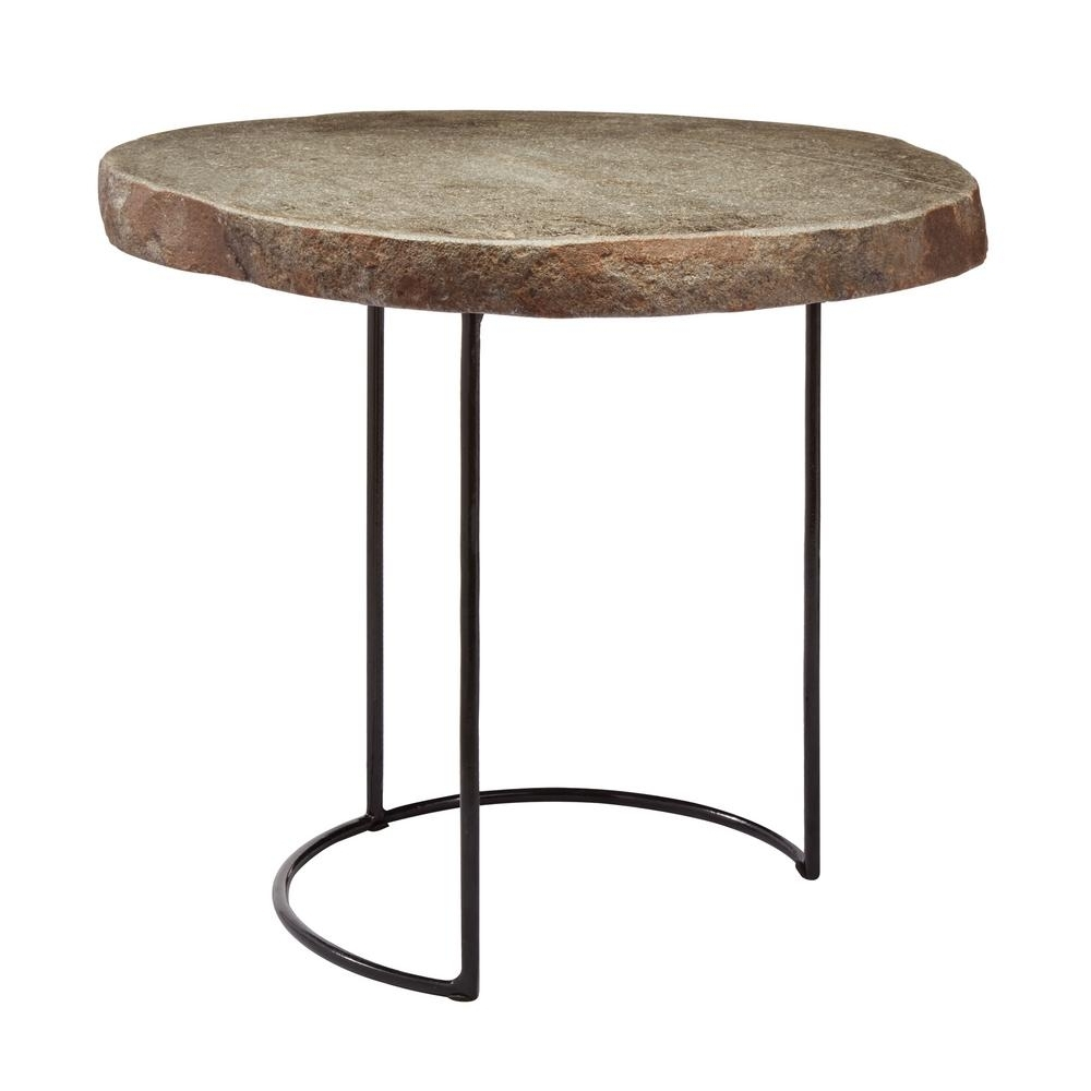 Titan Lighting Short Natural Stone Slab & Black Wire Frame Side With Well Known Black Wire Coffee Tables (View 16 of 20)