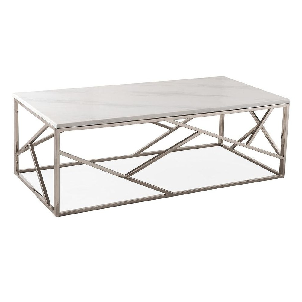 Tov Furniture Tov Oc3745 Gayle Coffee Table White Marble Top Gloss For Fashionable Large Slab Marble Coffee Tables With Antiqued Silver Base (View 17 of 20)