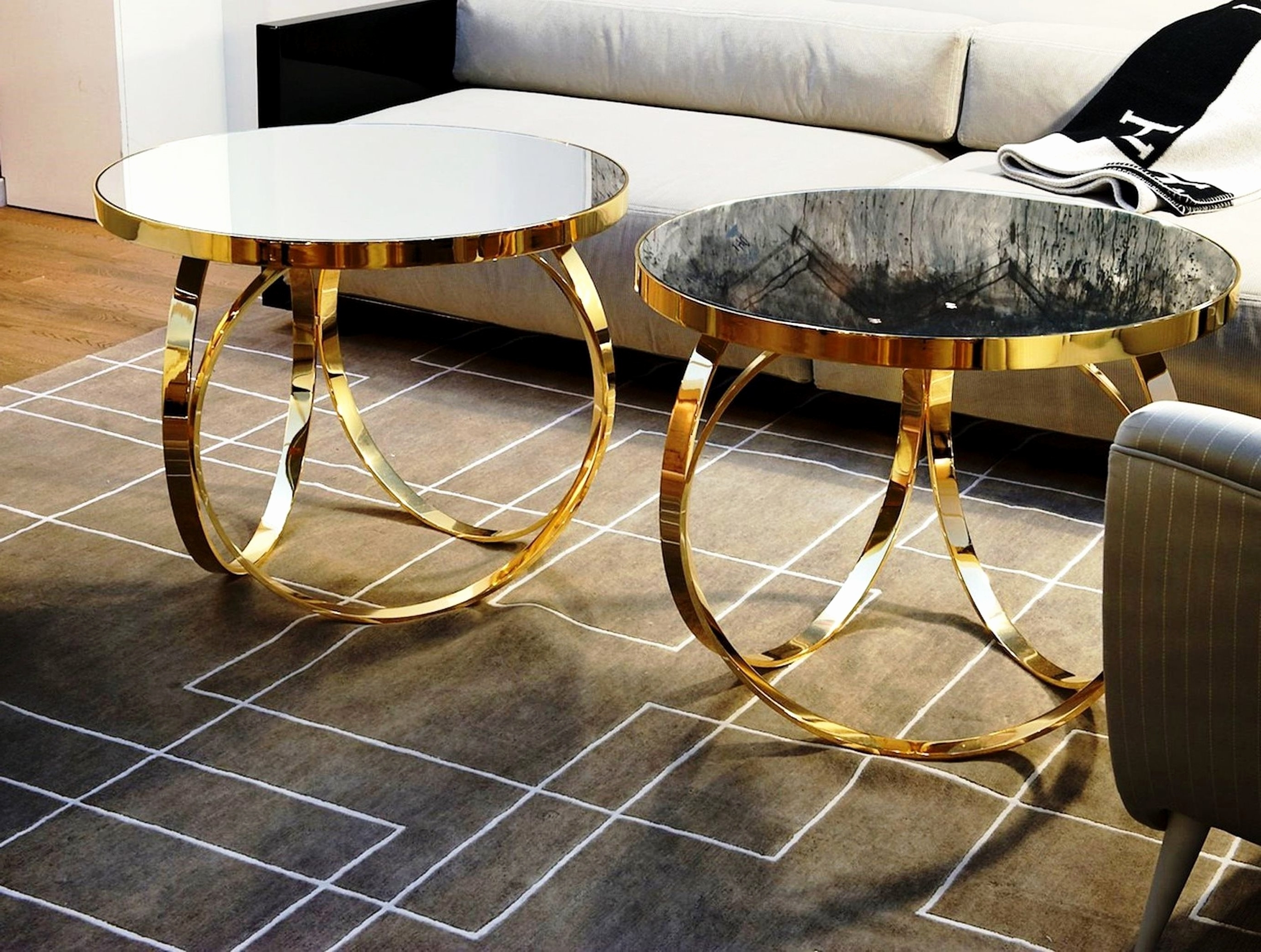 Trendy Cuff Hammered Gold Coffee Tables Throughout Gallery: Gold Coffee Table Set, – Longfabu (View 2 of 20)
