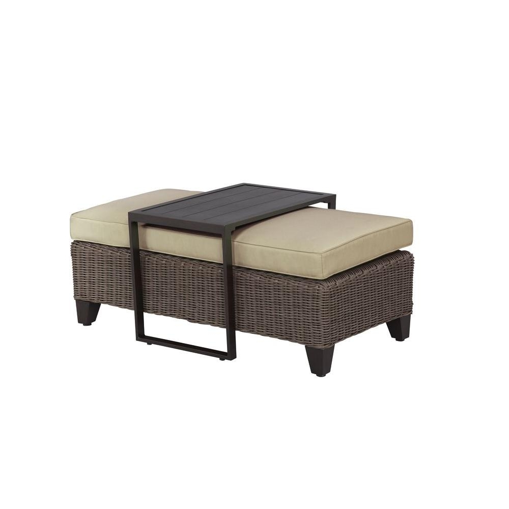 Trendy Elba Ottoman Coffee Tables Regarding Brown Jordan Vineyard Patio Ottomancoffee Table With Meadow Cushion (View 17 of 20)