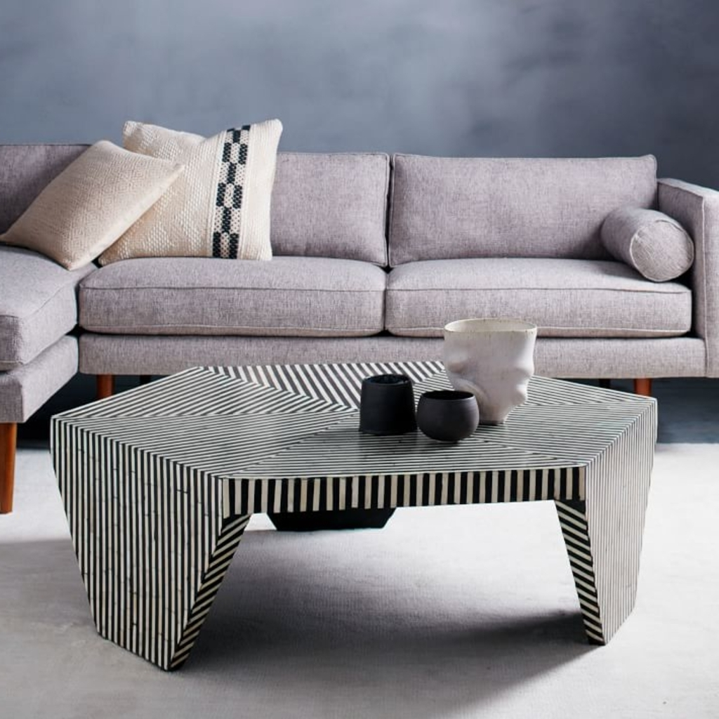 Trendy Geo Faceted Coffee Tables Regarding Design Ideas: Faceted Black And White Coffee Table From West Elm – A (View 17 of 20)
