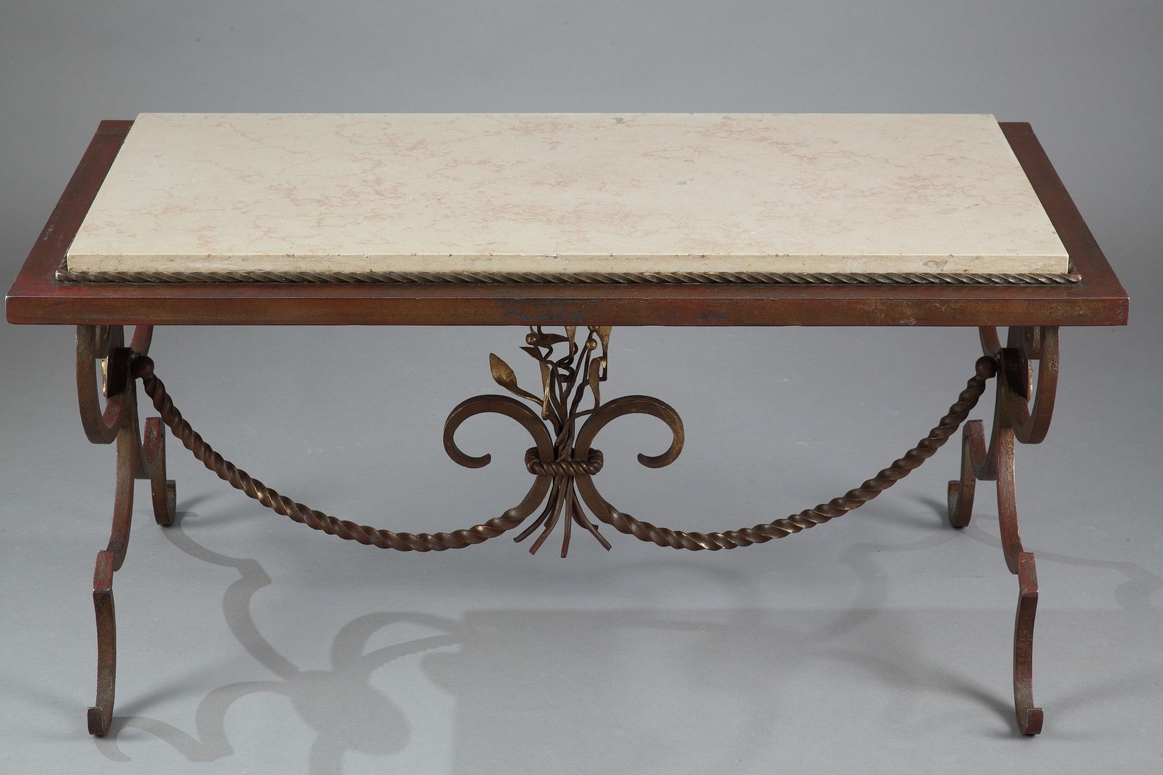 Trendy Iron Marble Coffee Tables For Gilded Wrought Iron & Marble Coffee Table, 1950s For Sale At Pamono (View 8 of 20)