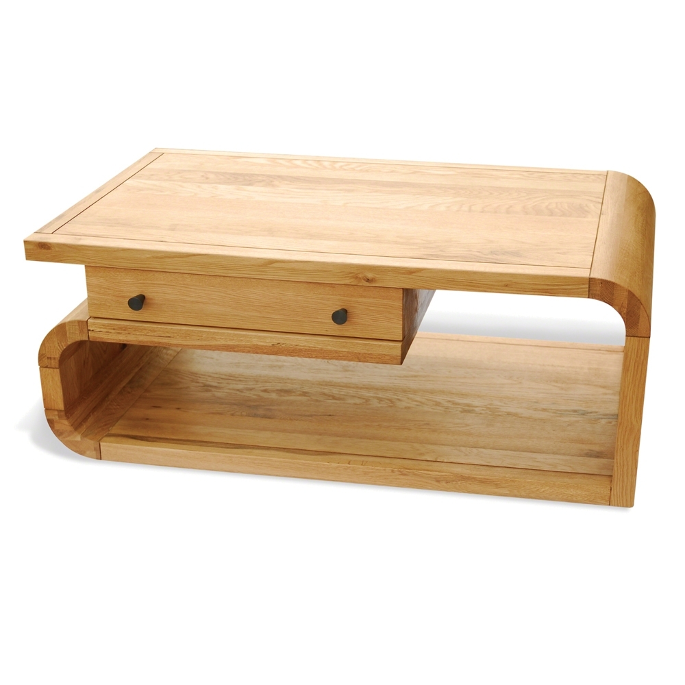 Trendy Light Natural Coffee Tables Pertaining To Inadam Furniture – Oak Coffee Table With Drawer – Natural Retro Oak (View 9 of 20)