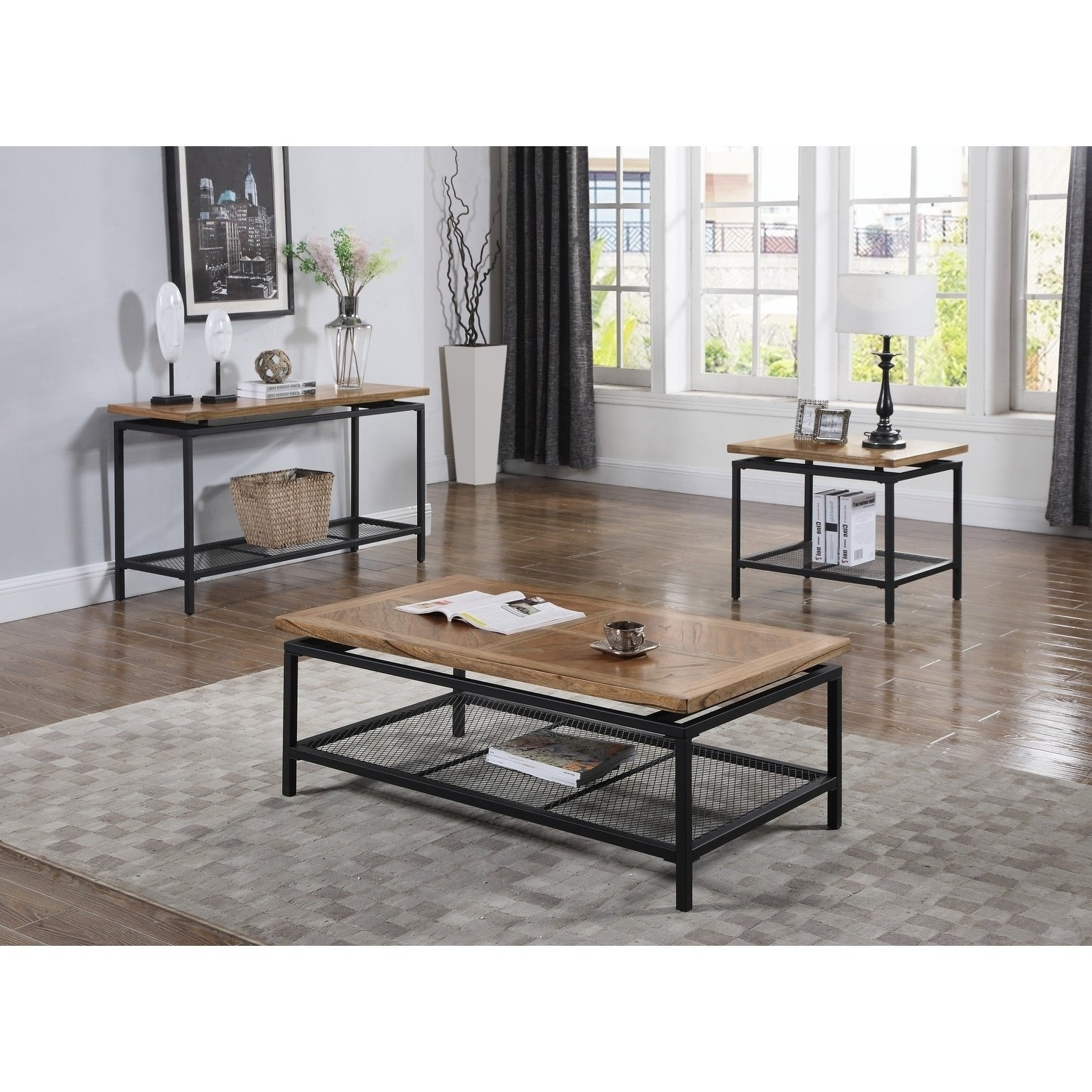 Trendy Magnolia Home Louver Cocktail Tables In Shop Emerald Home Magnolia Black Metal Legs And Mesh Shelf Cocktail (View 17 of 20)