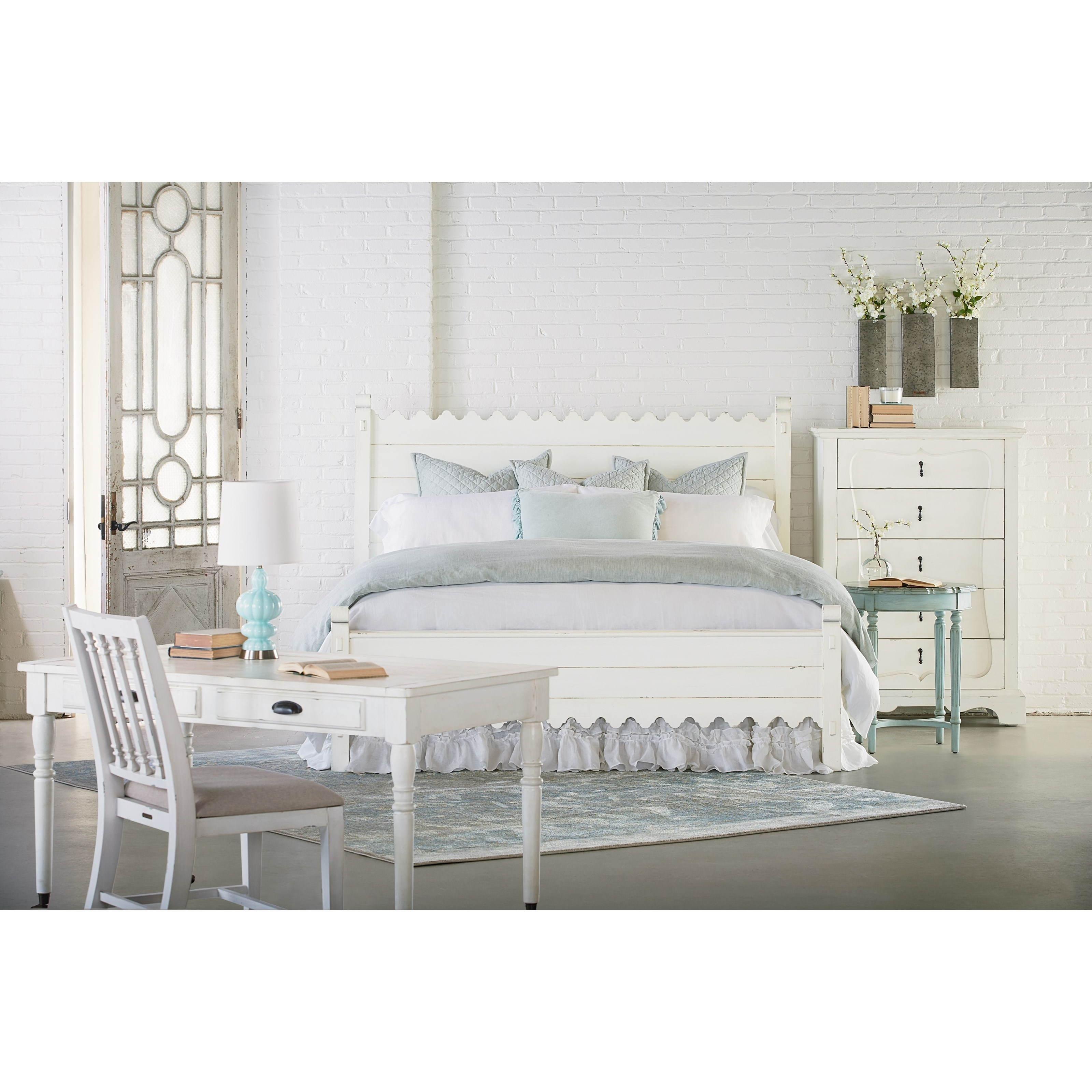 Trendy Magnolia Home Scallop Antique White Cocktail Tables Pertaining To Queen Bed With Scallop Trimmingmagnolia Homejoanna Gaines (View 18 of 20)