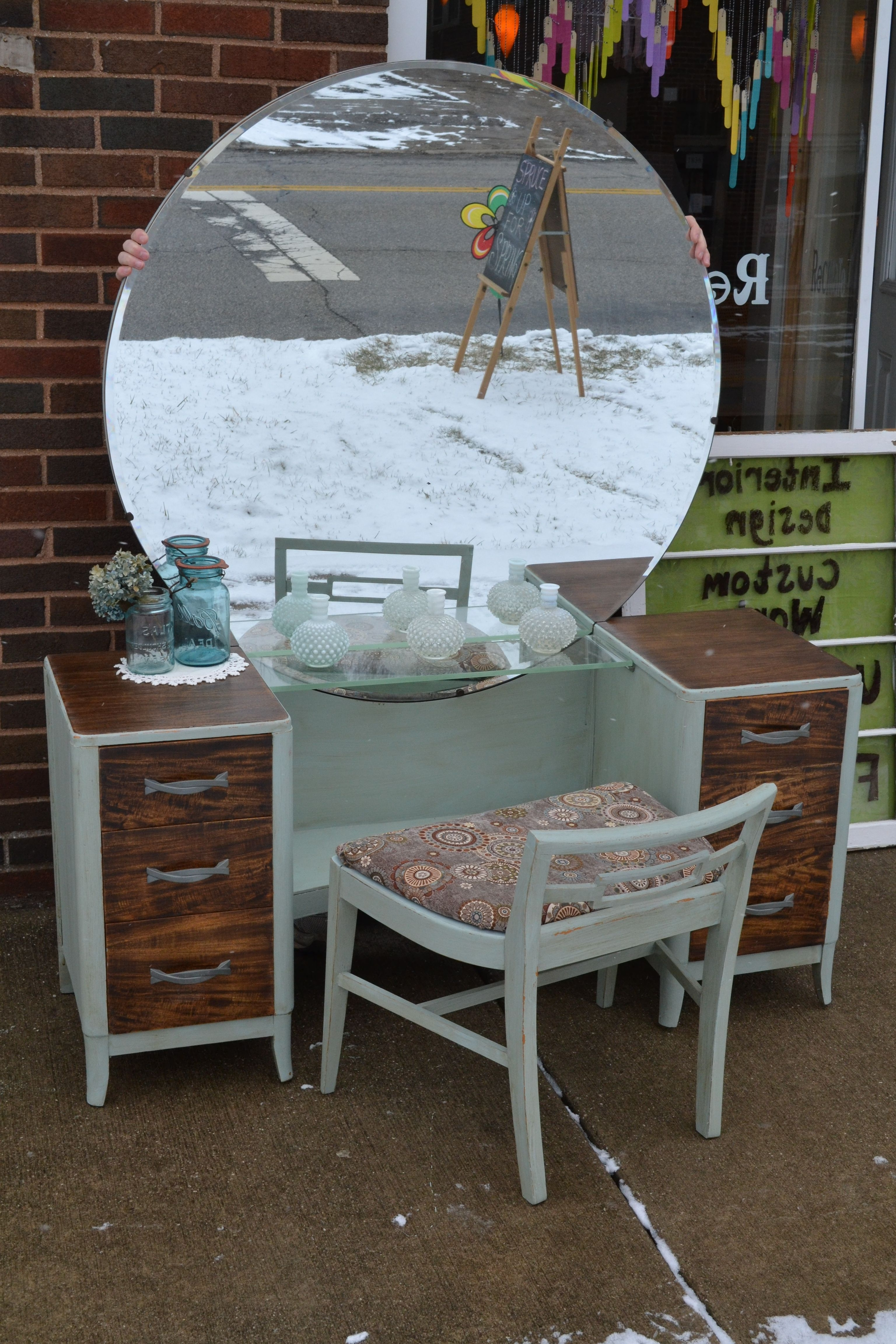 Trendy Mid Century Modern Egg Tables With Regard To Mid Century Modern Dressing Vanity Painted In Duck Egg – Drawer (View 15 of 20)