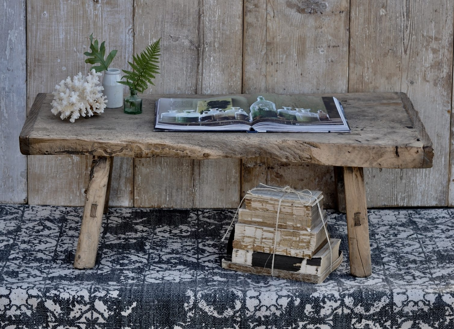 Trendy Reclaimed Elm Cast Iron Coffee Tables Intended For Small Rustic Reclaimed Elm Coffee Table With Live Waney Edge (View 14 of 20)