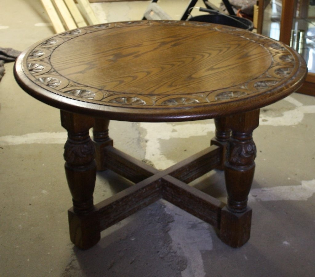 Trendy Round Carved Wood Coffee Tables Pertaining To Round Carved Oak Jaycee Coffee Table On Gumtree (View 14 of 20)