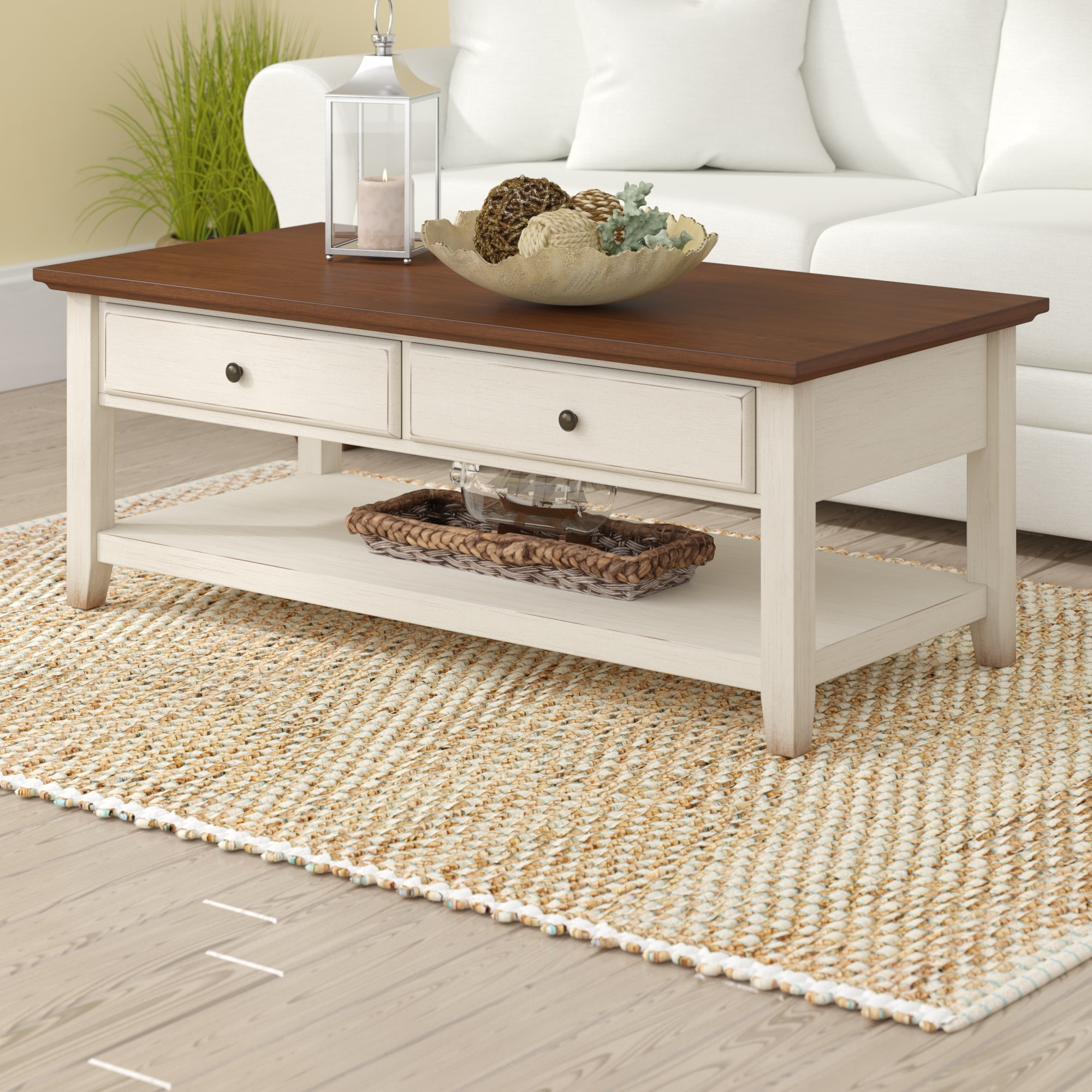 Trendy White Wash 2 Drawer/1 Door Coffee Tables Throughout Beachcrest Home Willow Coffee Table & Reviews (View 13 of 20)