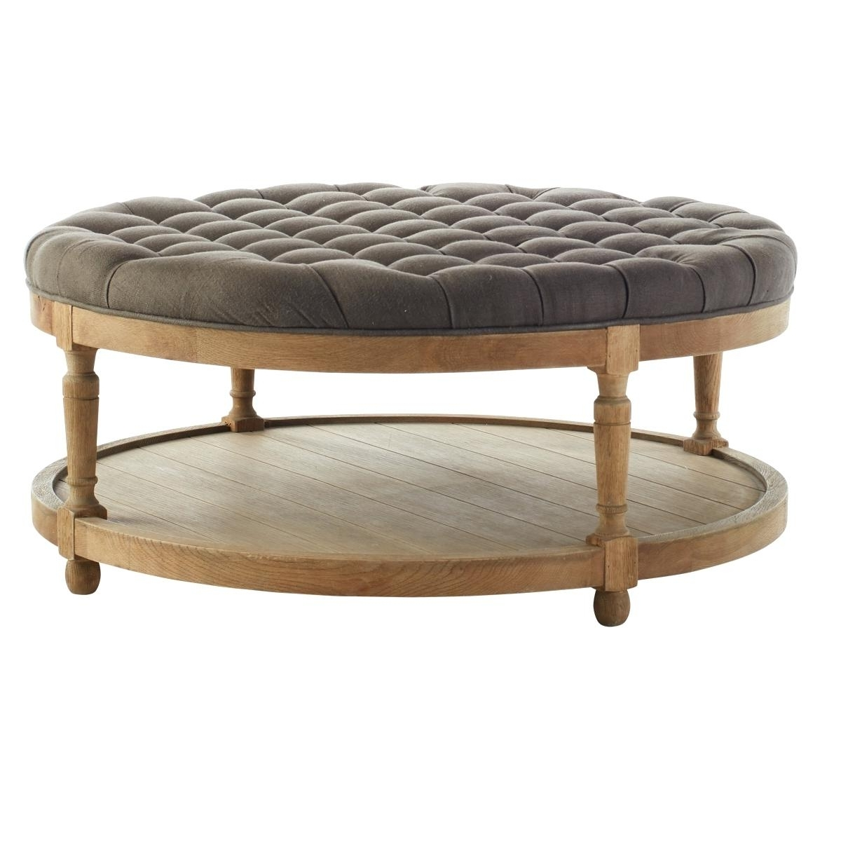 Tufted Coffee Table Wisteria Round Button Essex Ottoman With Tray For Favorite Round Button Tufted Coffee Tables (View 15 of 20)