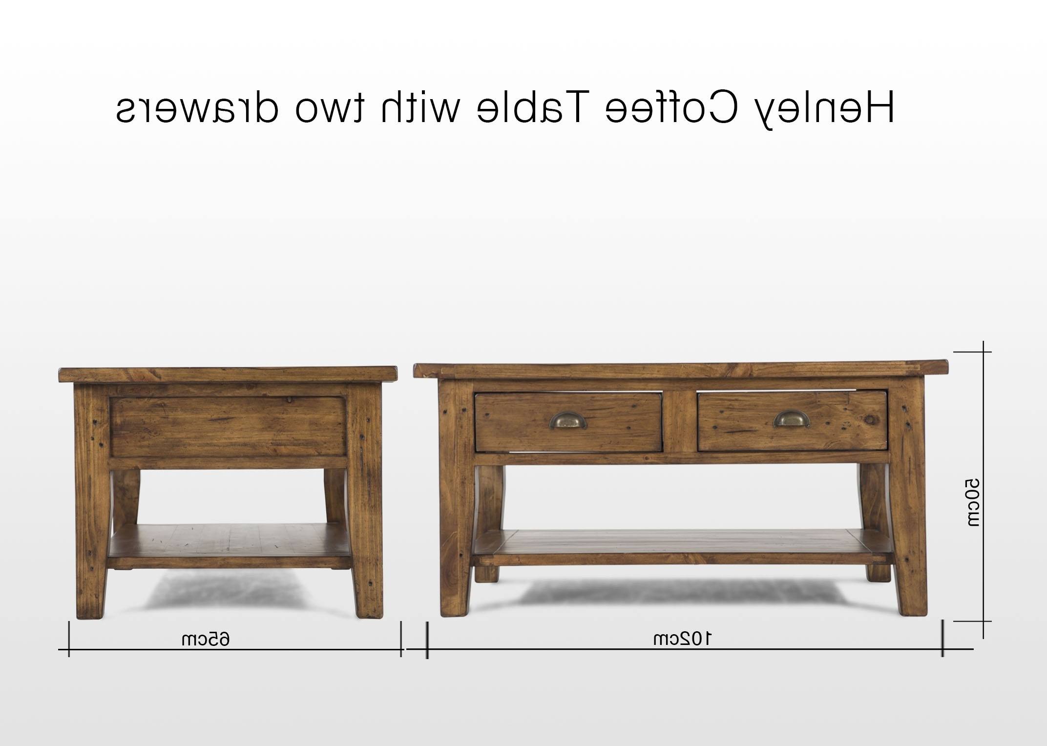 Two Drawer One Shelf Reclaimed Pine Coffee Table – Henley – Ez Throughout Favorite Reclaimed Pine Coffee Tables (View 15 of 20)