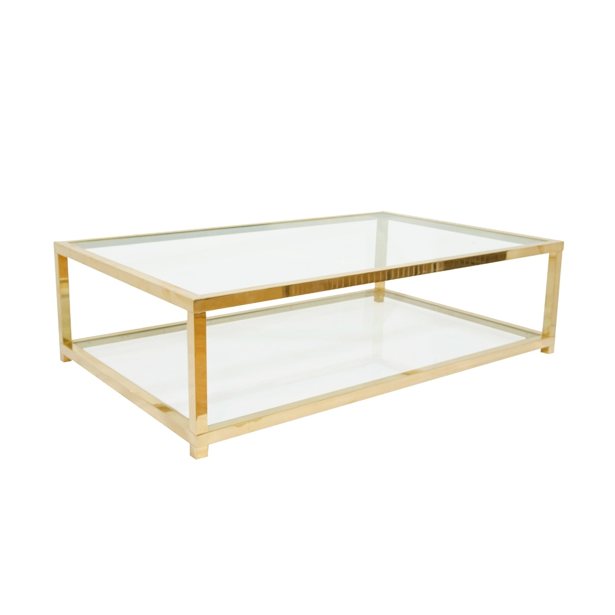 Two Tiered Brass And Glass Coffee Table (View 3 of 20)