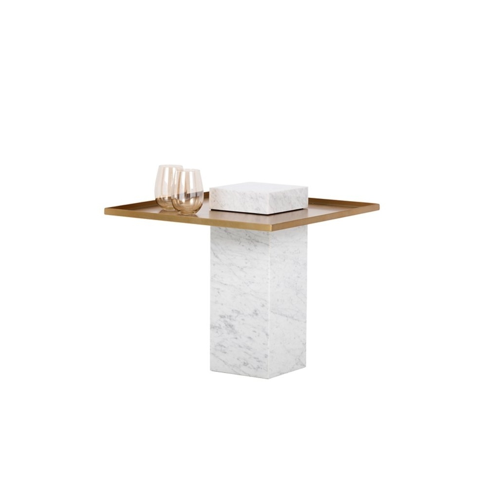 Verona White Marble/gold End Table – Free Shipping Today – Overstock For Trendy Verona Cocktail Tables (Gallery 18 of 20)