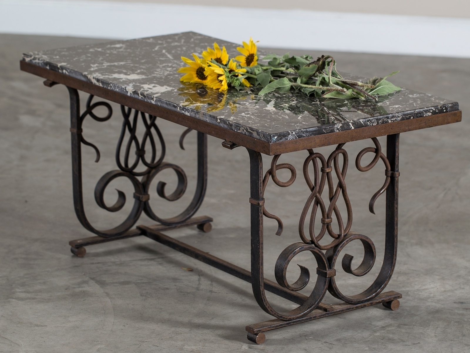 Vintage French Art Nouveau Iron And Marble Coffee Table France Circa Intended For Well Liked Iron Marble Coffee Tables (View 13 of 20)