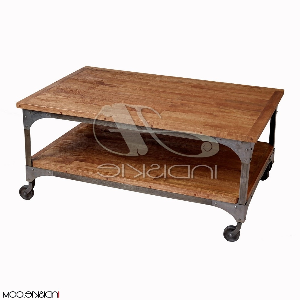 Vintage Industrial Furniture Iron Wood Coffee Table With Wheel Within Favorite Vintage Wood Coffee Tables (View 13 of 20)