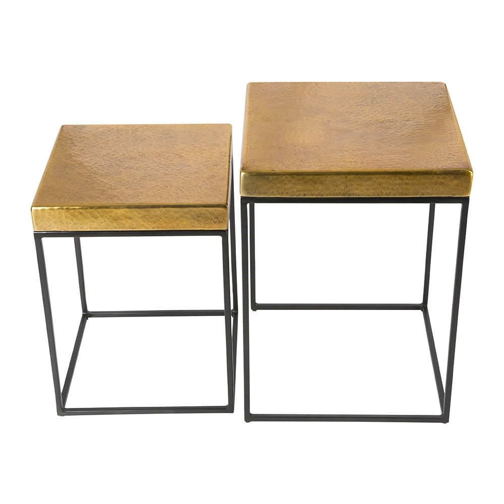 Well Known Antique Brass Coffee Tables Intended For Buy Aamara Cube Side Tables – Set Of 2 – Antique Brass (View 13 of 20)