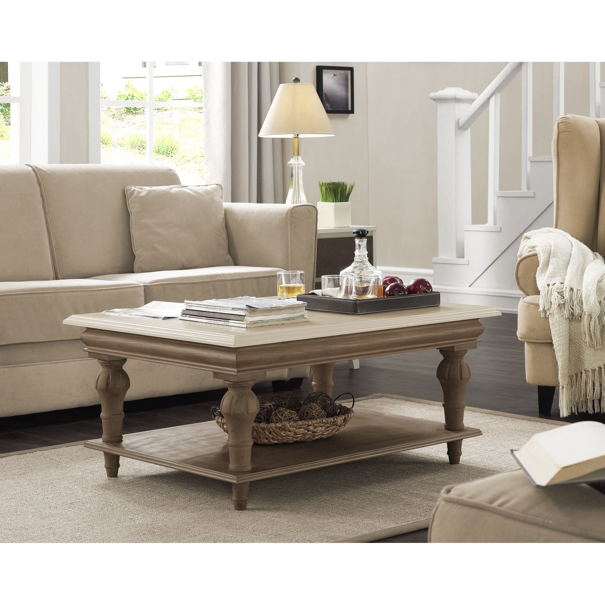 Well Known Element Ivory Rectangular Coffee Tables Regarding Shop Elements Cream Wood Coffee Table – Free Shipping Today (View 18 of 20)