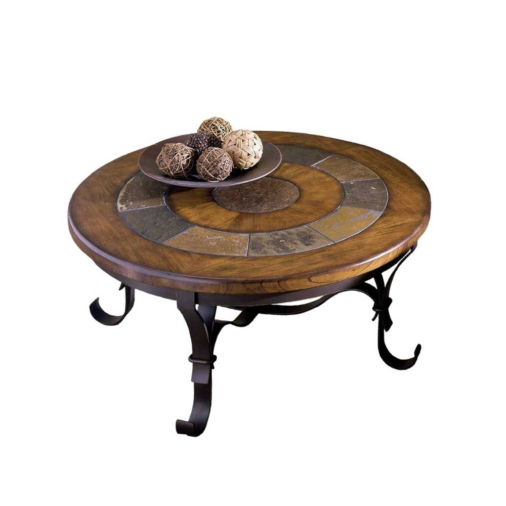 Well Known Exton Cocktail Tables With Regard To Riverside Furniture Stone Forge Round Cocktail Table – Ahfa (View 9 of 20)