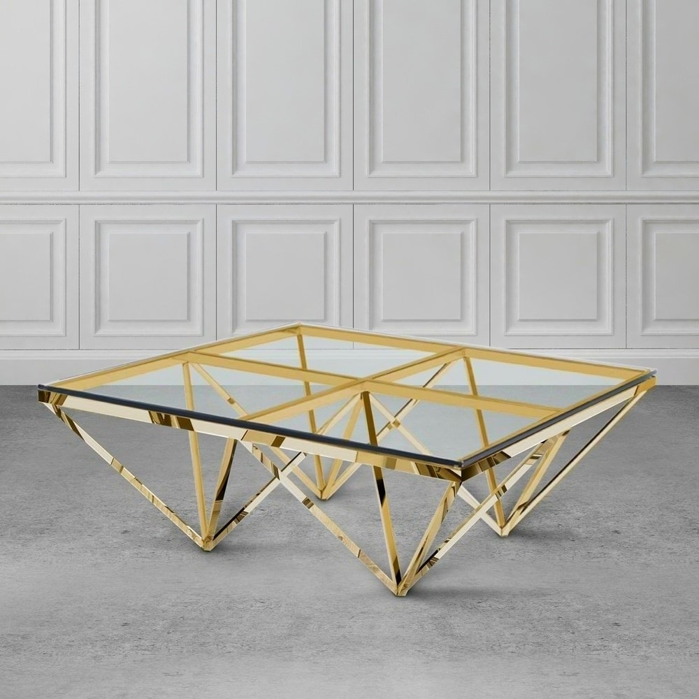 Well Known Inverted Triangle Coffee Tables For Shop Zest Glass And Metal Square Coffee Table – Free Shipping Today (View 17 of 20)