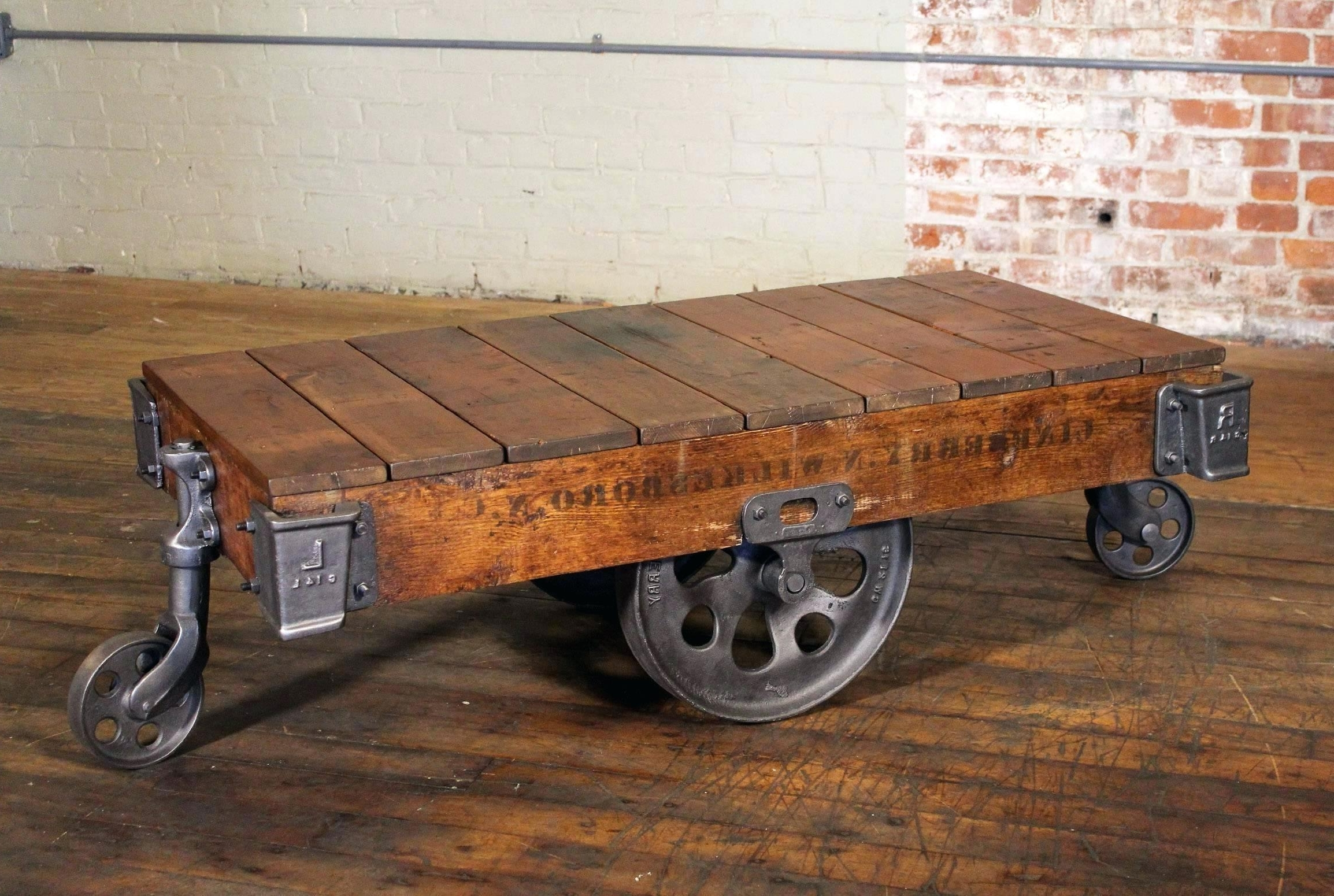 Well Known Iron Wood Coffee Tables With Wheels For Table: Vintage Industrial Rustic Wood And Cast Iron Factory Coffee (View 14 of 20)