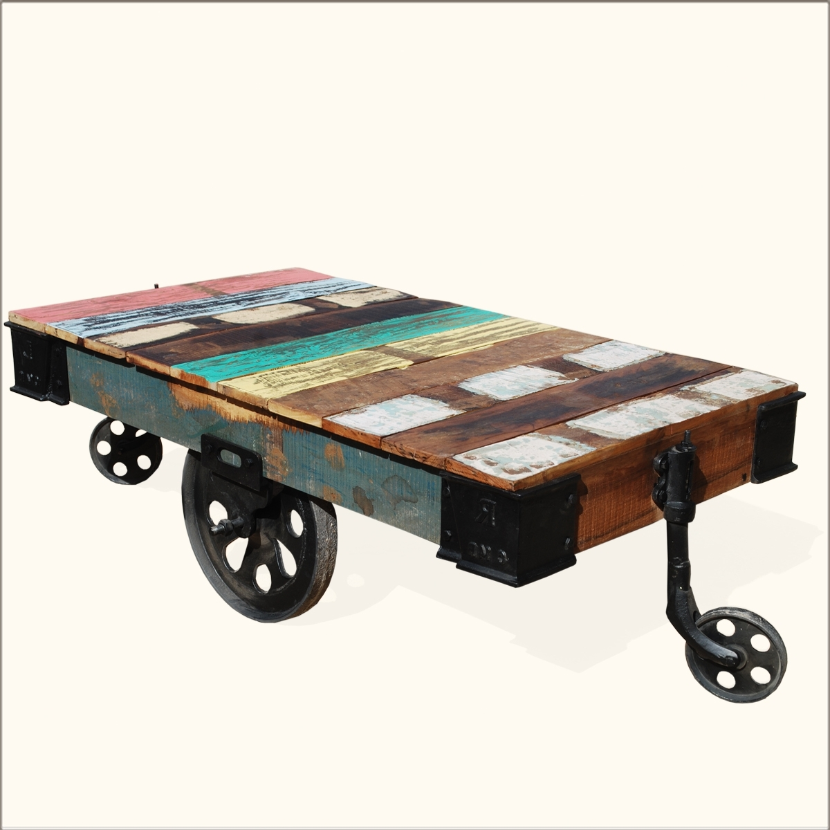 Well Known Iron Wood Coffee Tables With Wheels Pertaining To Rustic Assorted Color Wooden Coffee Table With Black Metal Wheels Of (View 15 of 20)