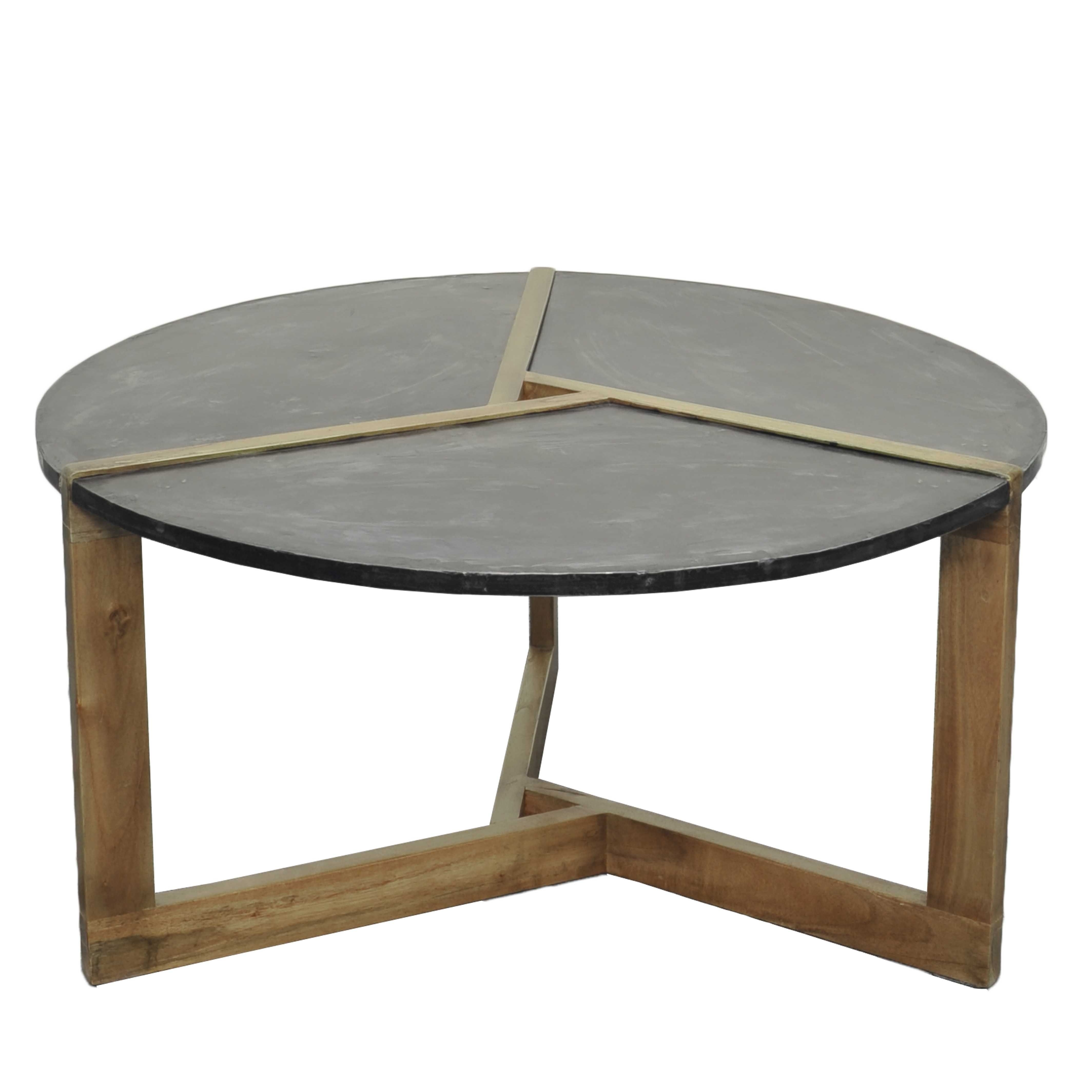 Well Known Large Slab Marble Coffee Tables With Antiqued Silver Base Intended For Oslo Metal Plate Coffee Table Natural Gray Base, Rustic Gray/ (View 18 of 20)
