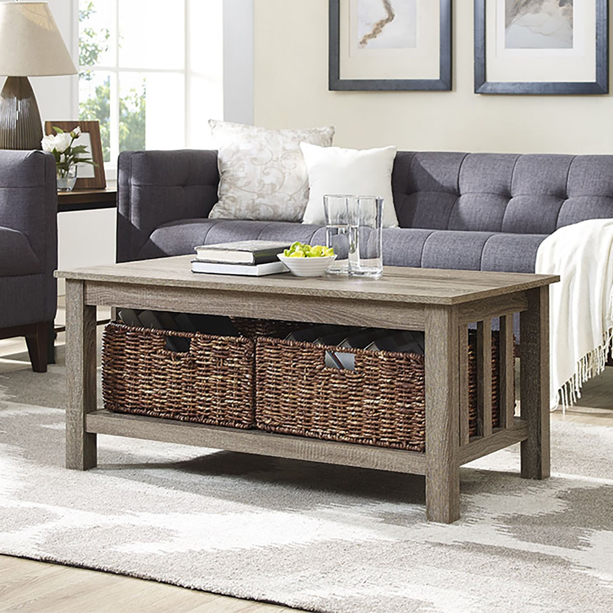Well Known Lassen Square Lift Top Cocktail Tables Inside Shop 40 Inch Driftwood Coffee Table With Storage Totes – On Sale (View 8 of 20)