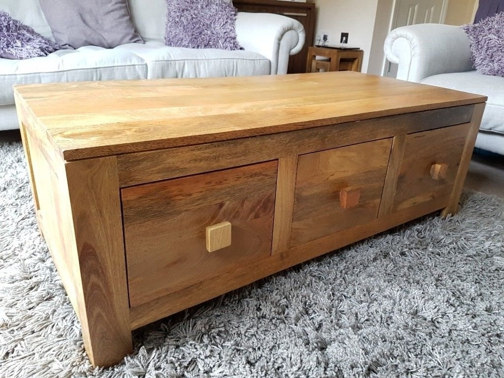 Well Known Light Natural Coffee Tables For Mantis Light Natural Solid Mango Wood 6 Drawer Storage Coffee Table (View 20 of 20)