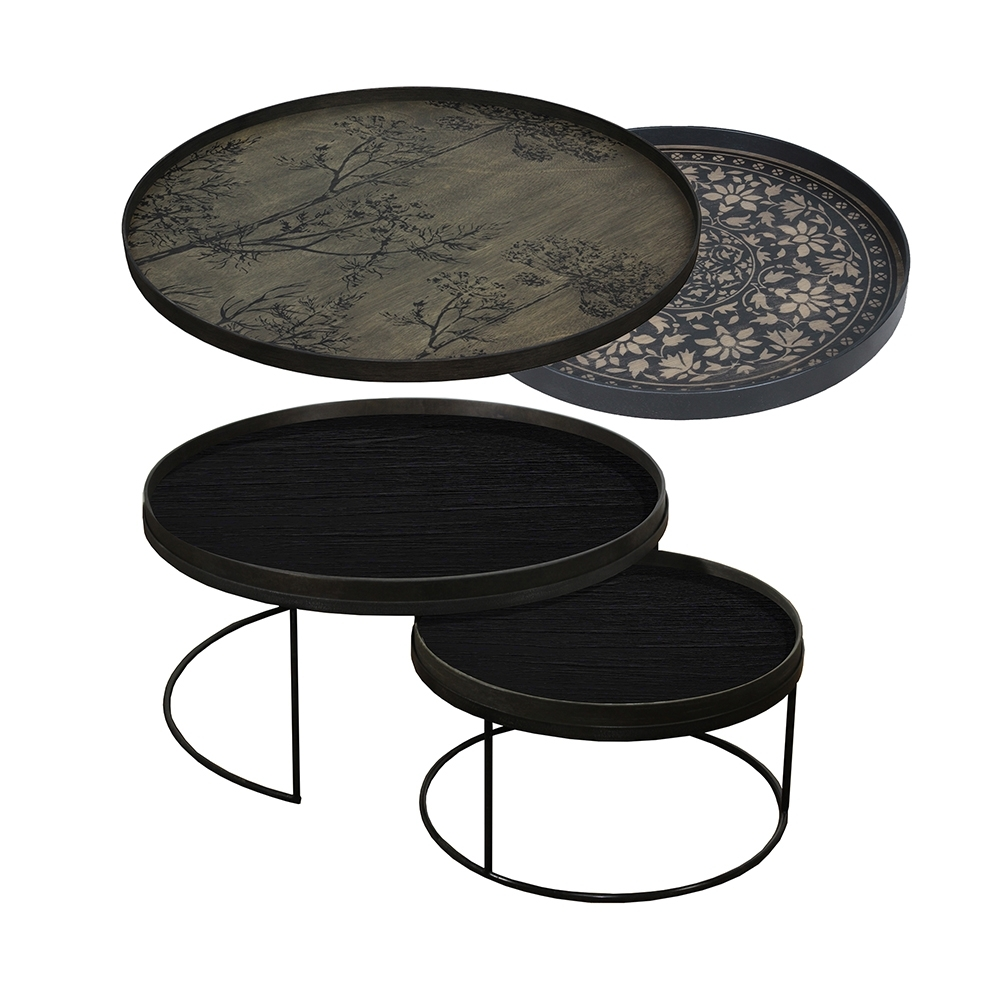 Well Known Marrakesh Side Tables With Tray Nesting Tables Low Round Xl – Black Marrakesh And Black Dill (View 20 of 20)