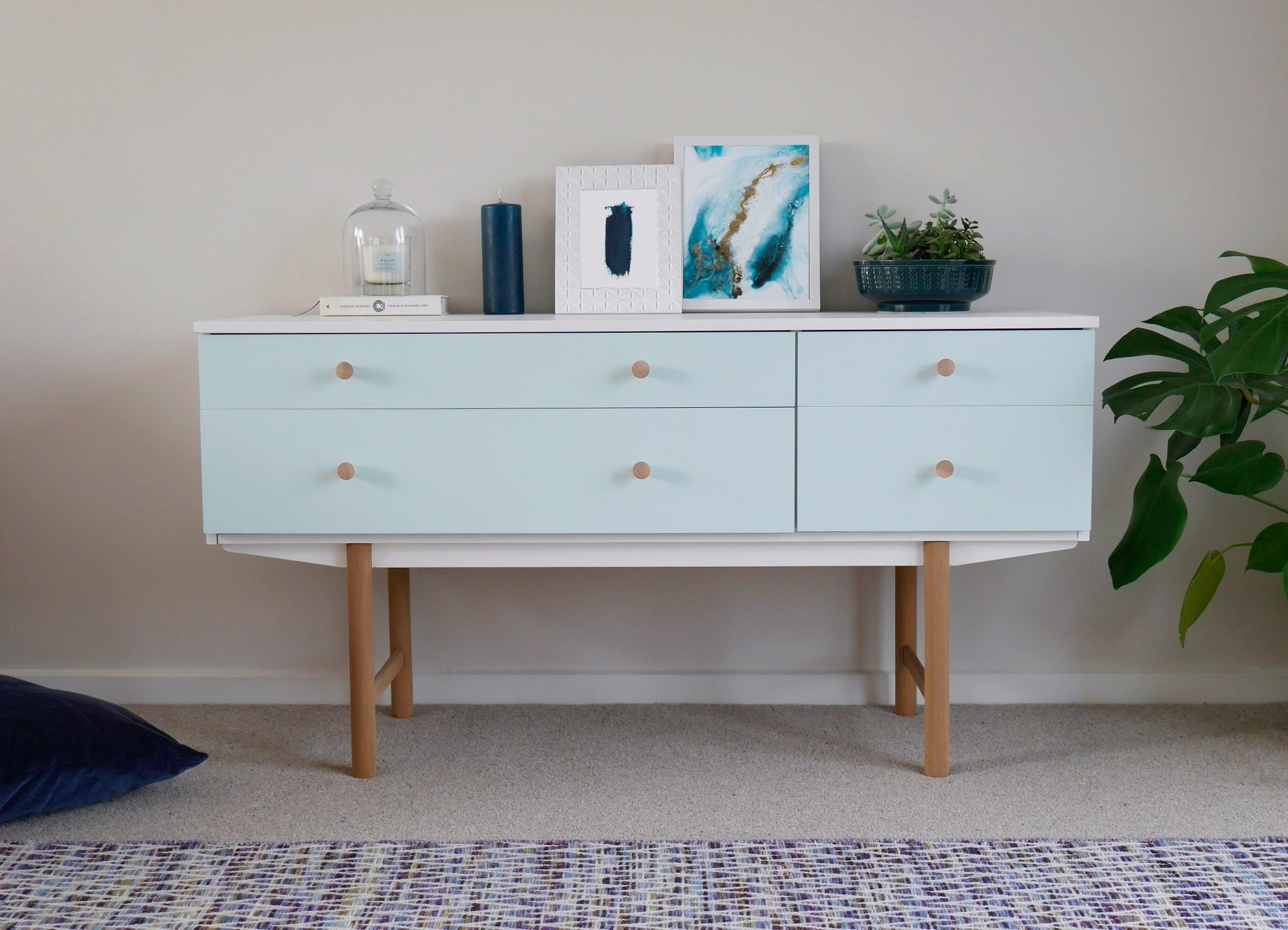 Well Known Mid Century Modern Egg Tables Within Mid Century Modern Sideboard Drawers Painted White & Duck Egg Blue (View 17 of 20)