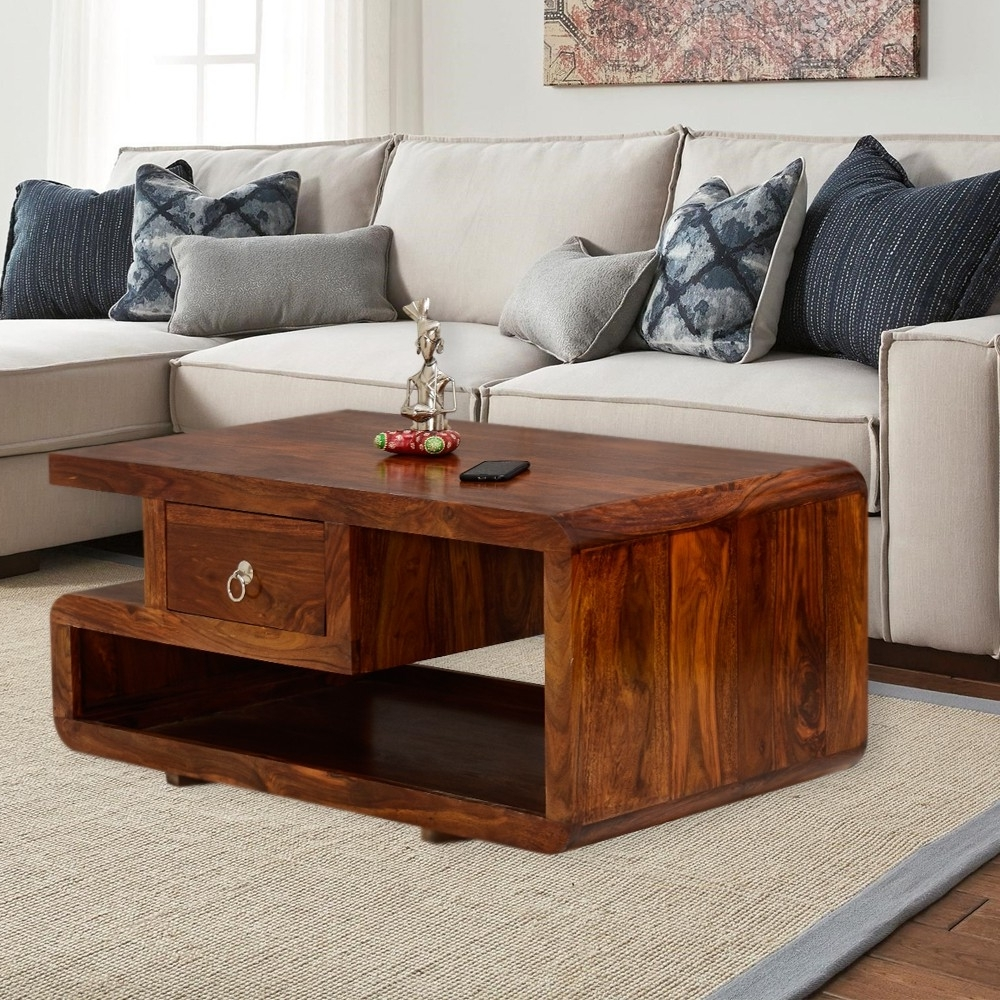 Well Known Naveen Coffee Tables With Striado Double Top Drawer Center Table (View 18 of 20)